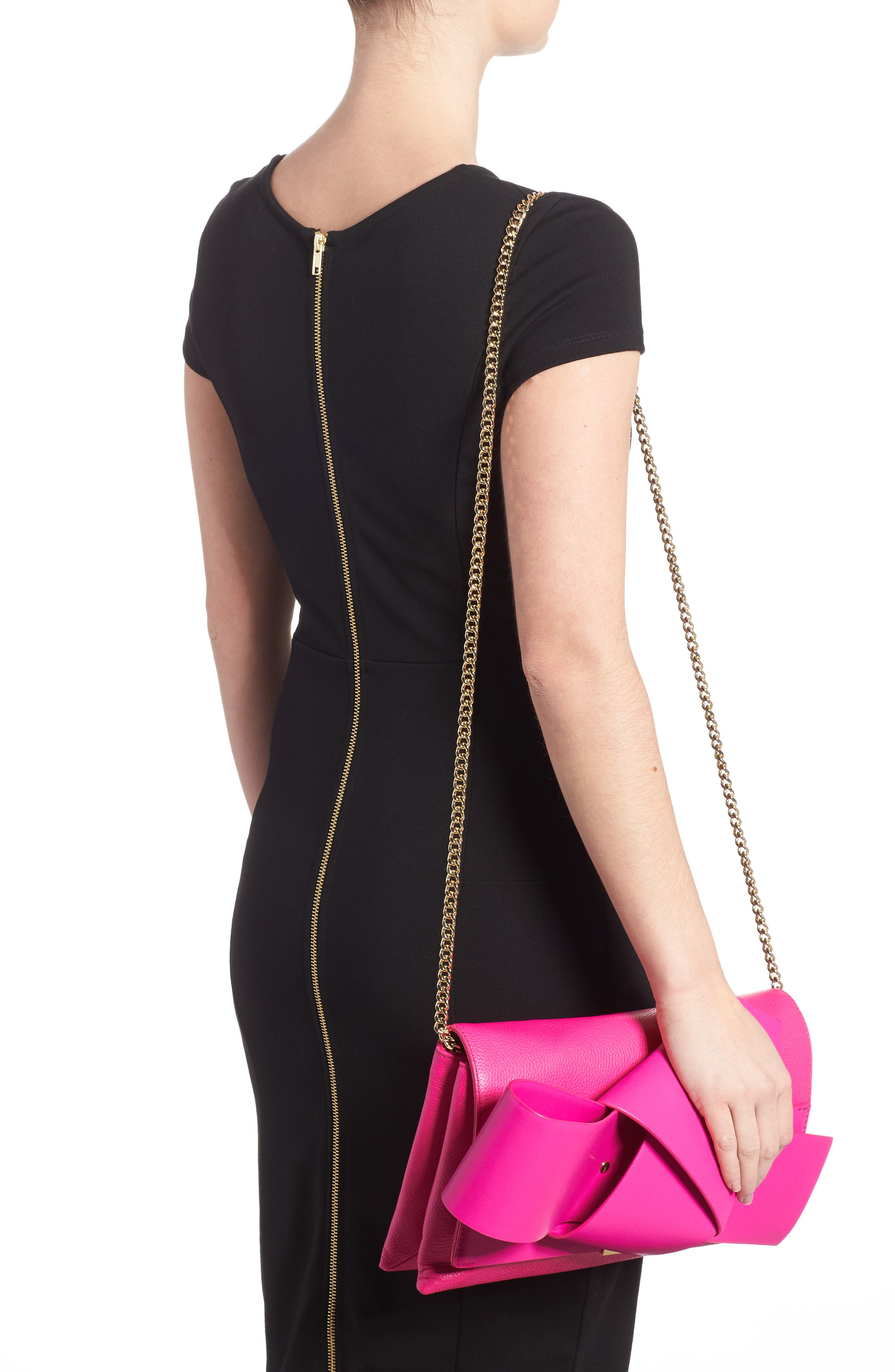 Knotted Bow Leather Clutch,                             Alternate thumbnail 10, color,