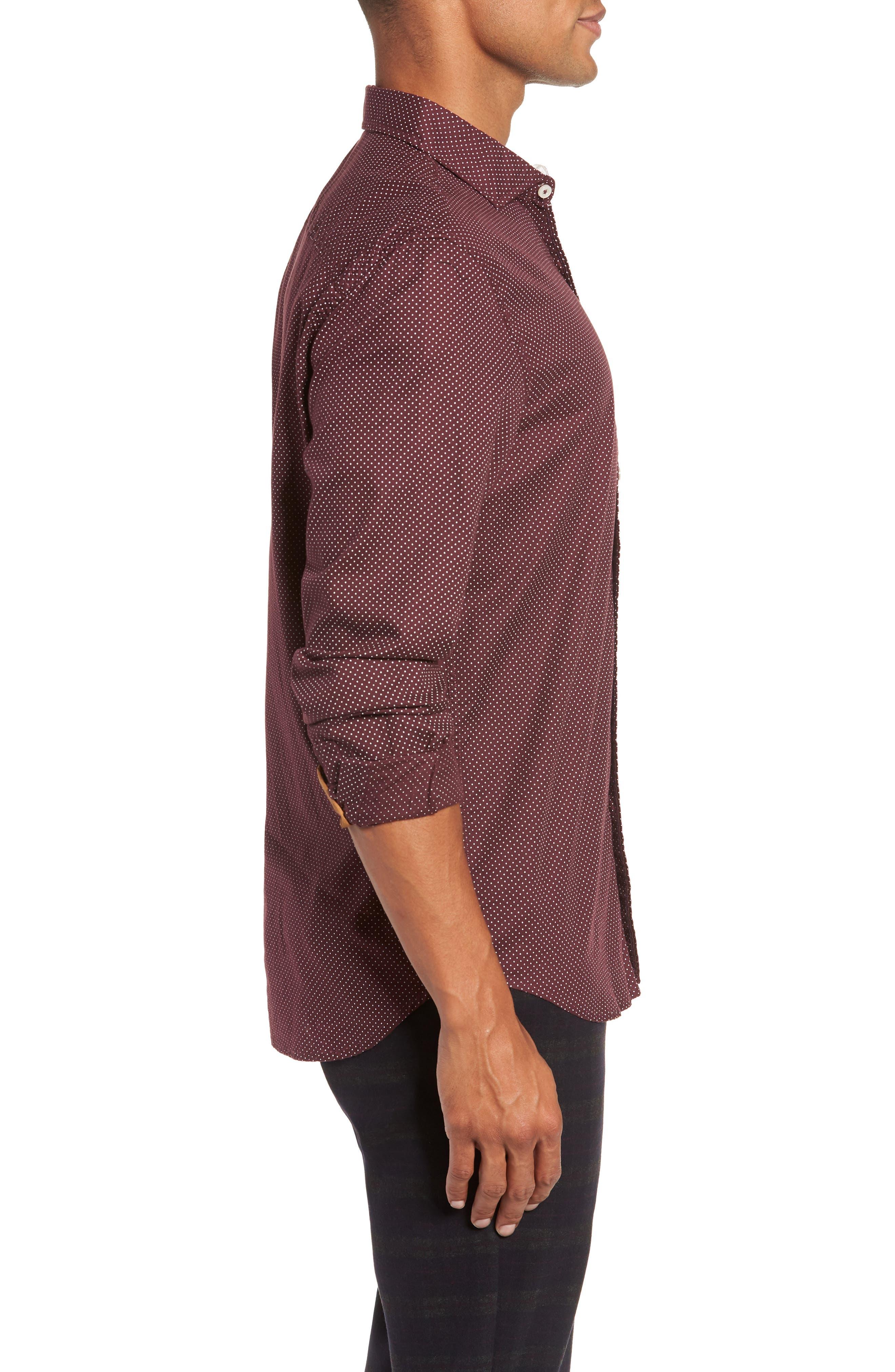 Earnest Regular Fit Dotted Sport Shirt,                             Alternate thumbnail 4, color,                             BURGUNDY