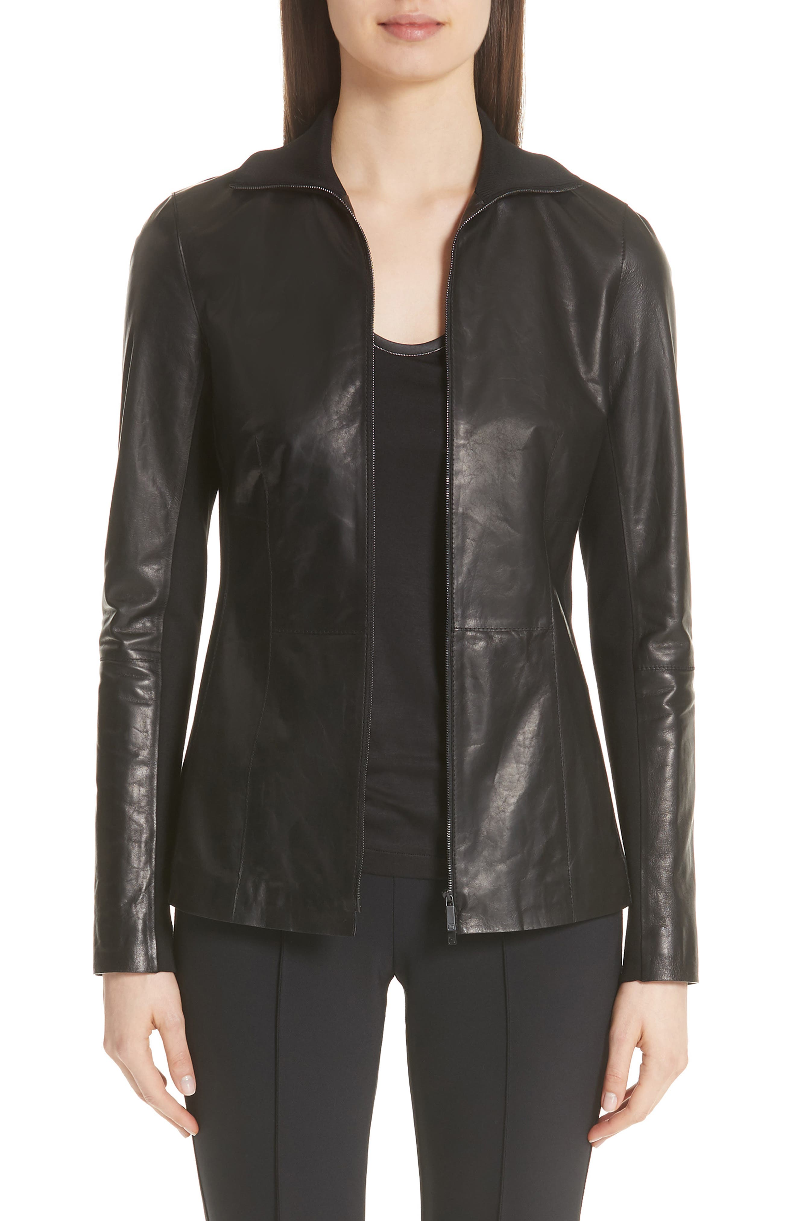 Ponte Panel Leather Jacket,                         Main,                         color, 001