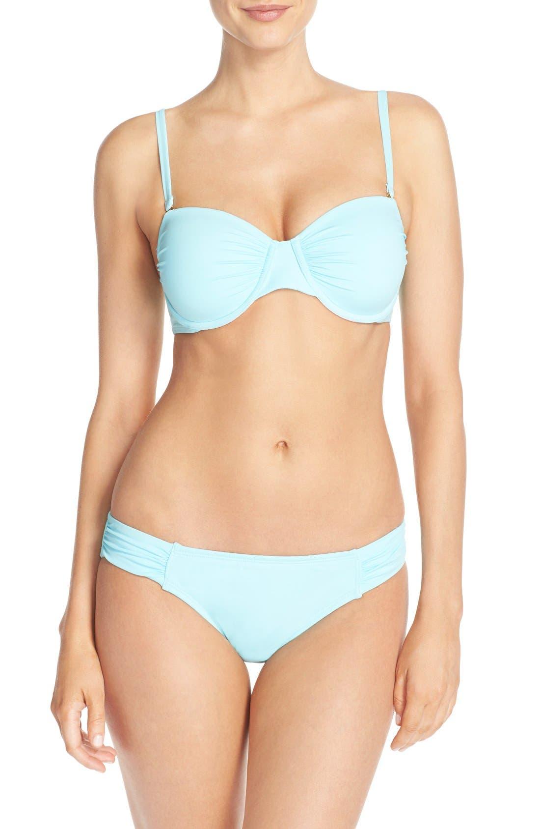 Side Shirred Hipster Bikini Bottoms,                             Alternate thumbnail 6, color,                             400