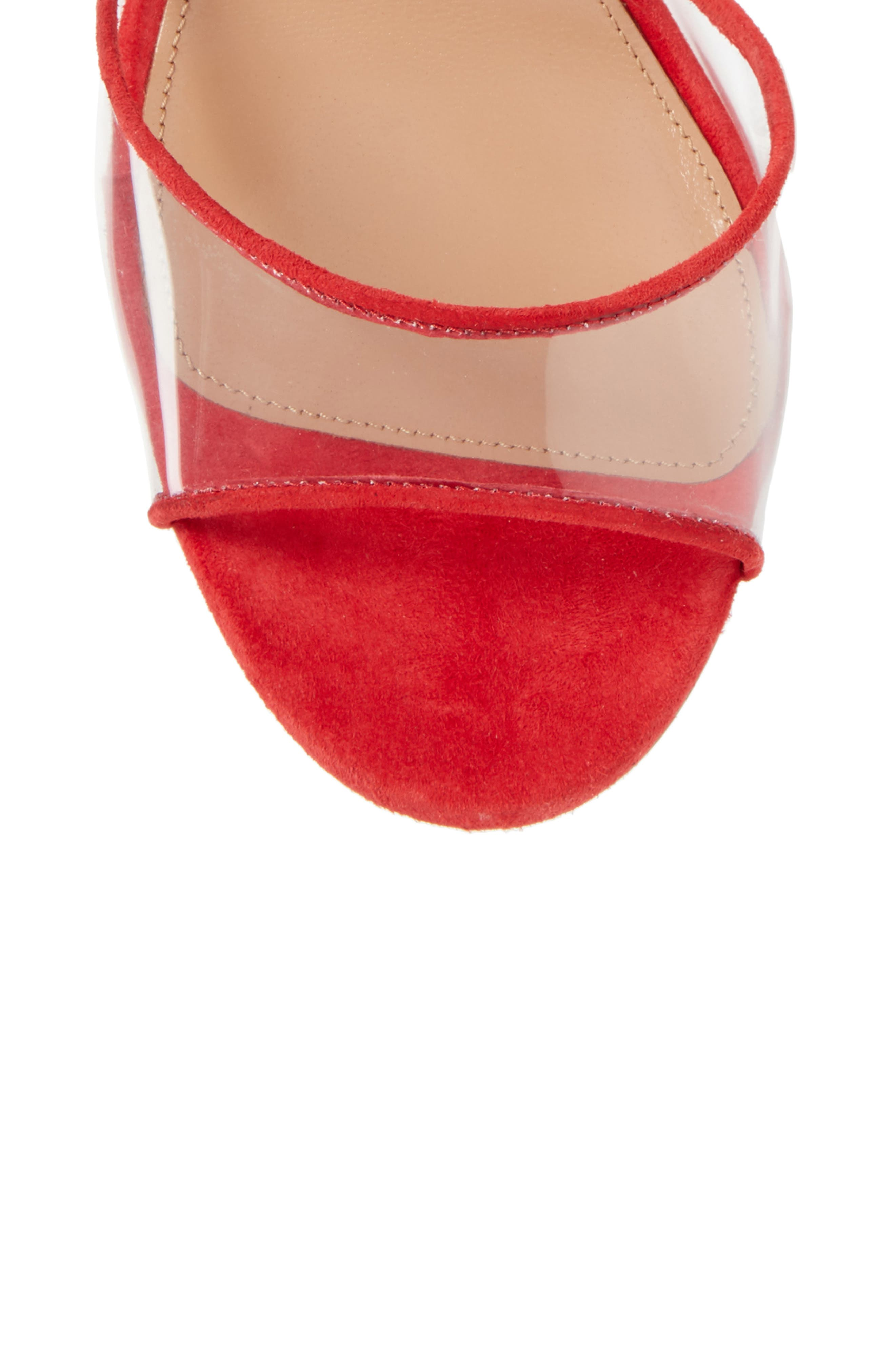 Optic Clear Ankle Tie Sandal,                             Alternate thumbnail 5, color,                             CARNATION RED