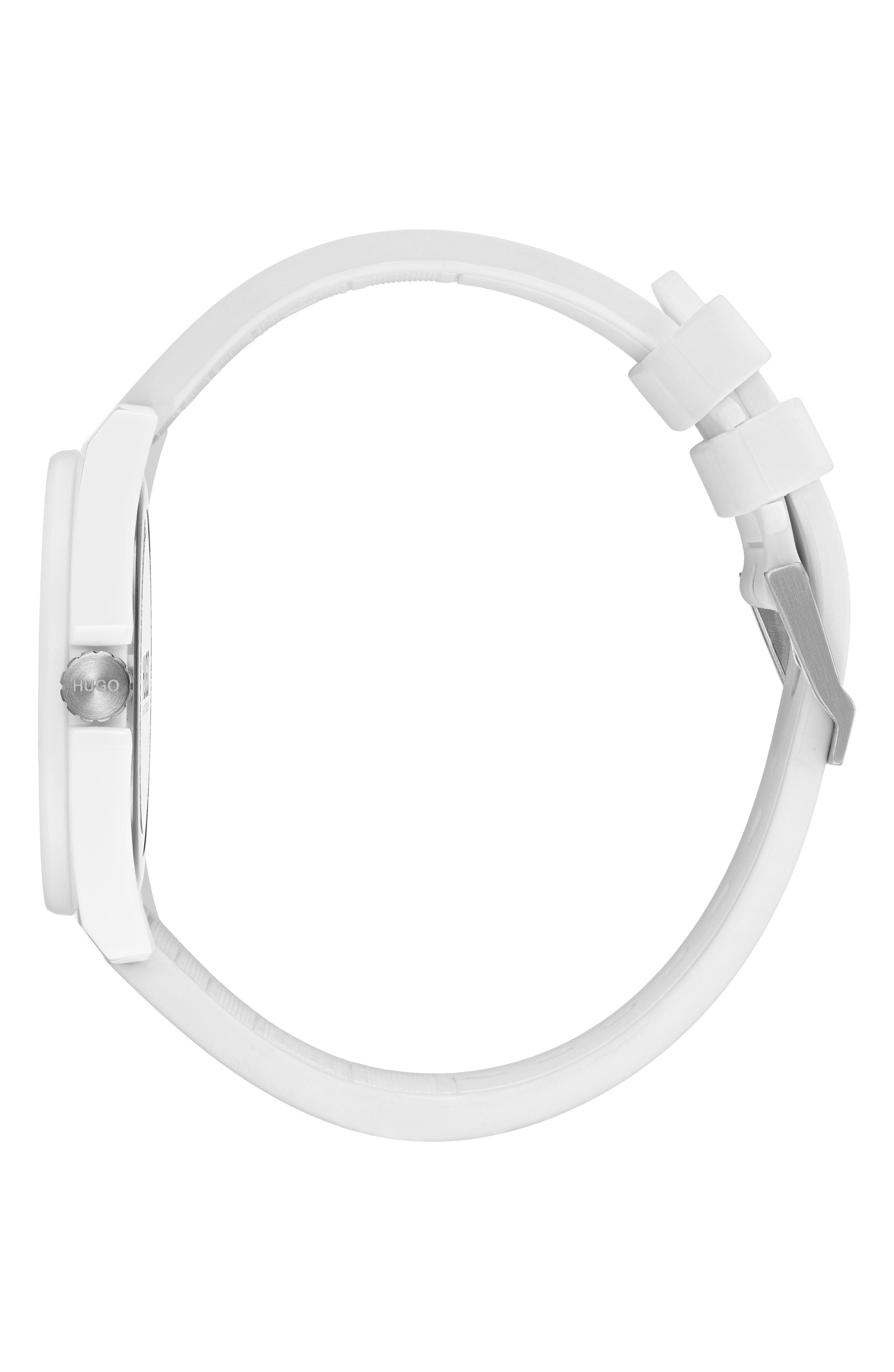 Play Rubber Strap Watch, 40mm,                             Alternate thumbnail 3, color,                             WHITE