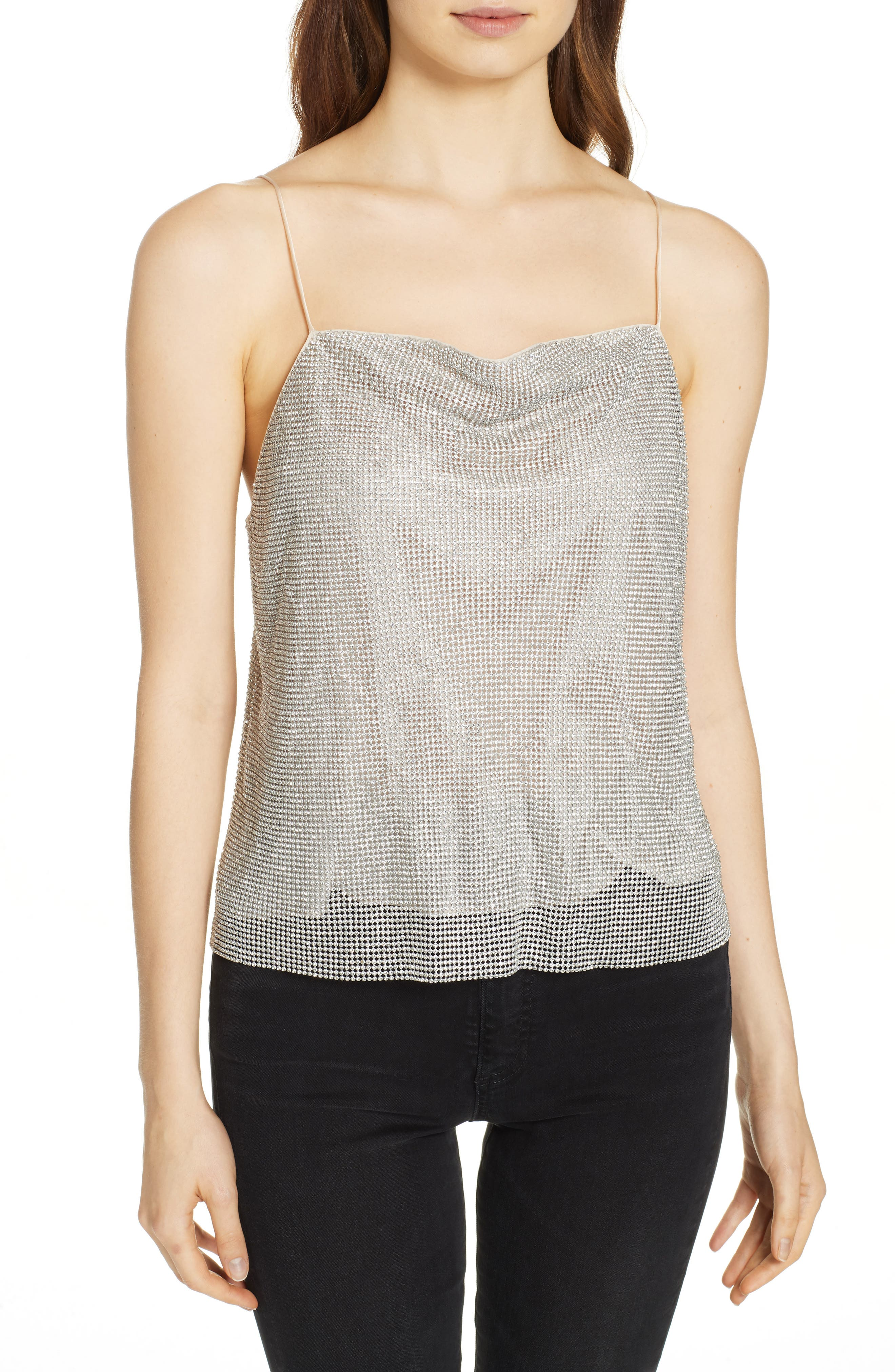 Harmon Crystal Chainmaille Camisole,                         Main,                         color, SILVER/ CHAINMAIL