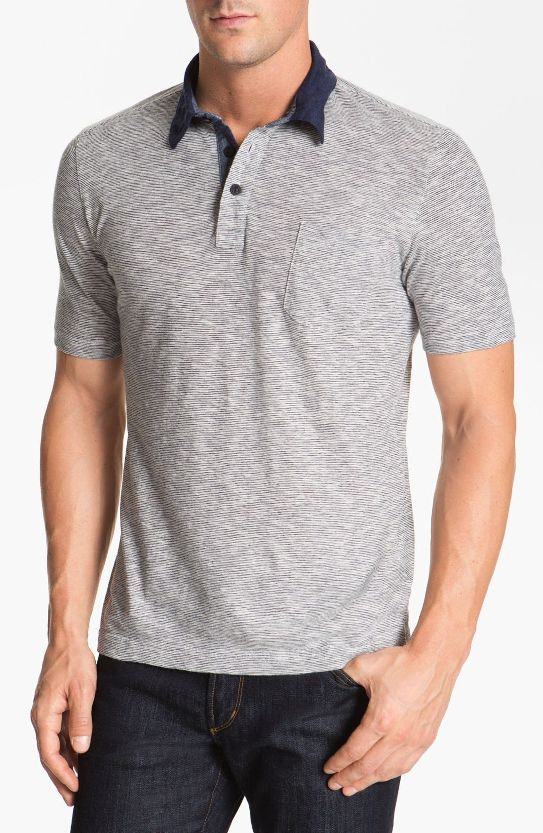 Linen Blend Polo,                         Main,                         color, 460