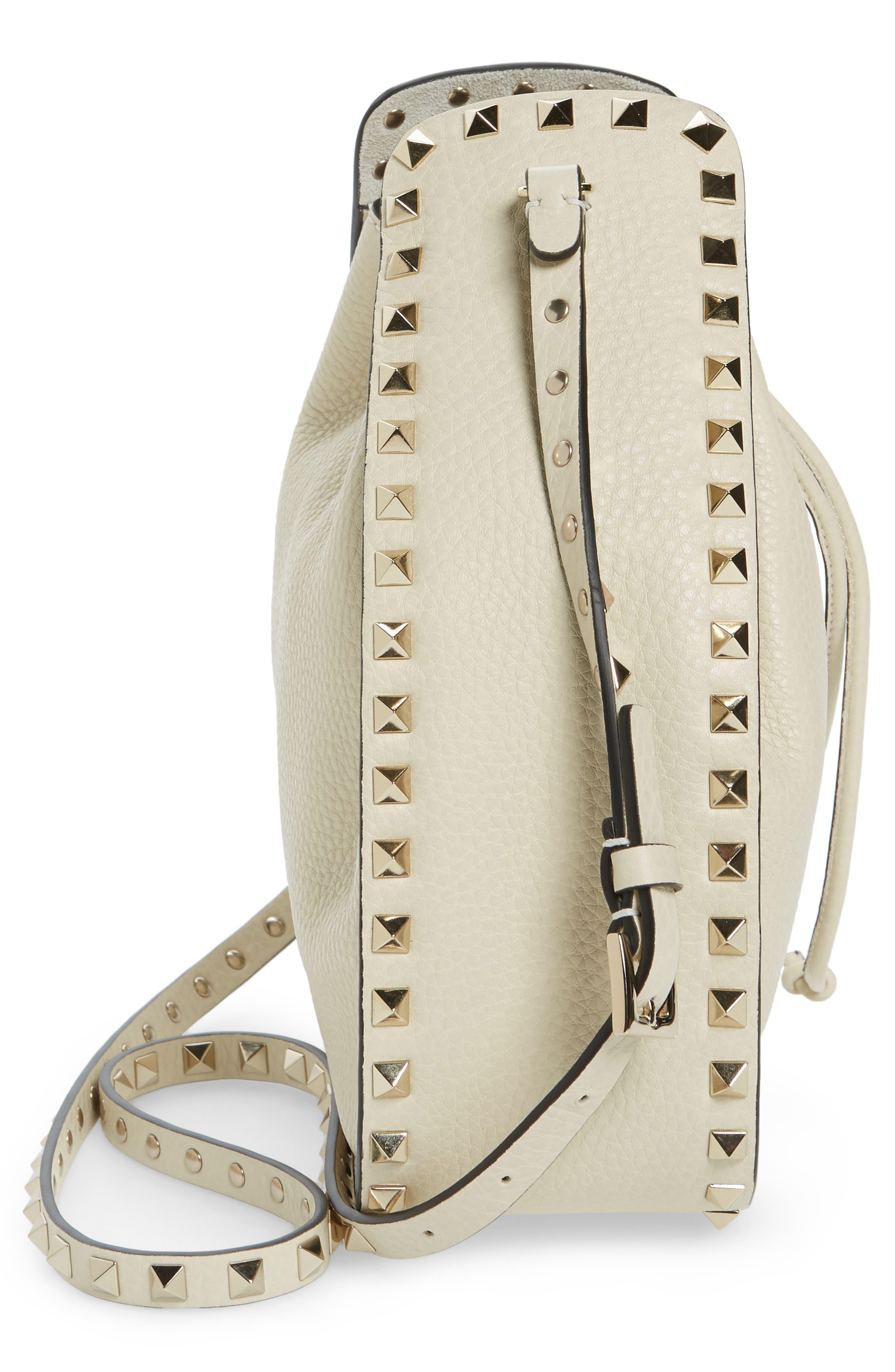 Large Rockstud Leather Bucket Bag,                             Alternate thumbnail 5, color,                             IVORY