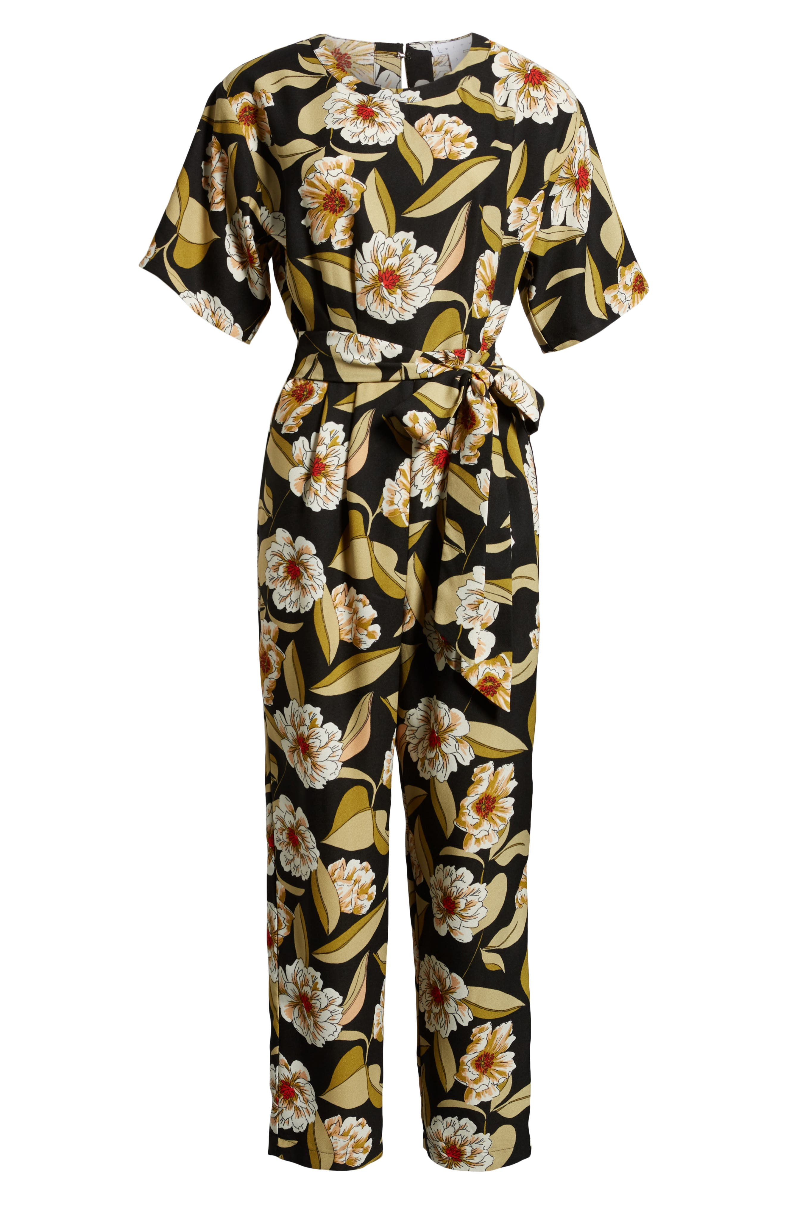 LEITH,                             Belted Floral Jumpsuit,                             Alternate thumbnail 7, color,                             001