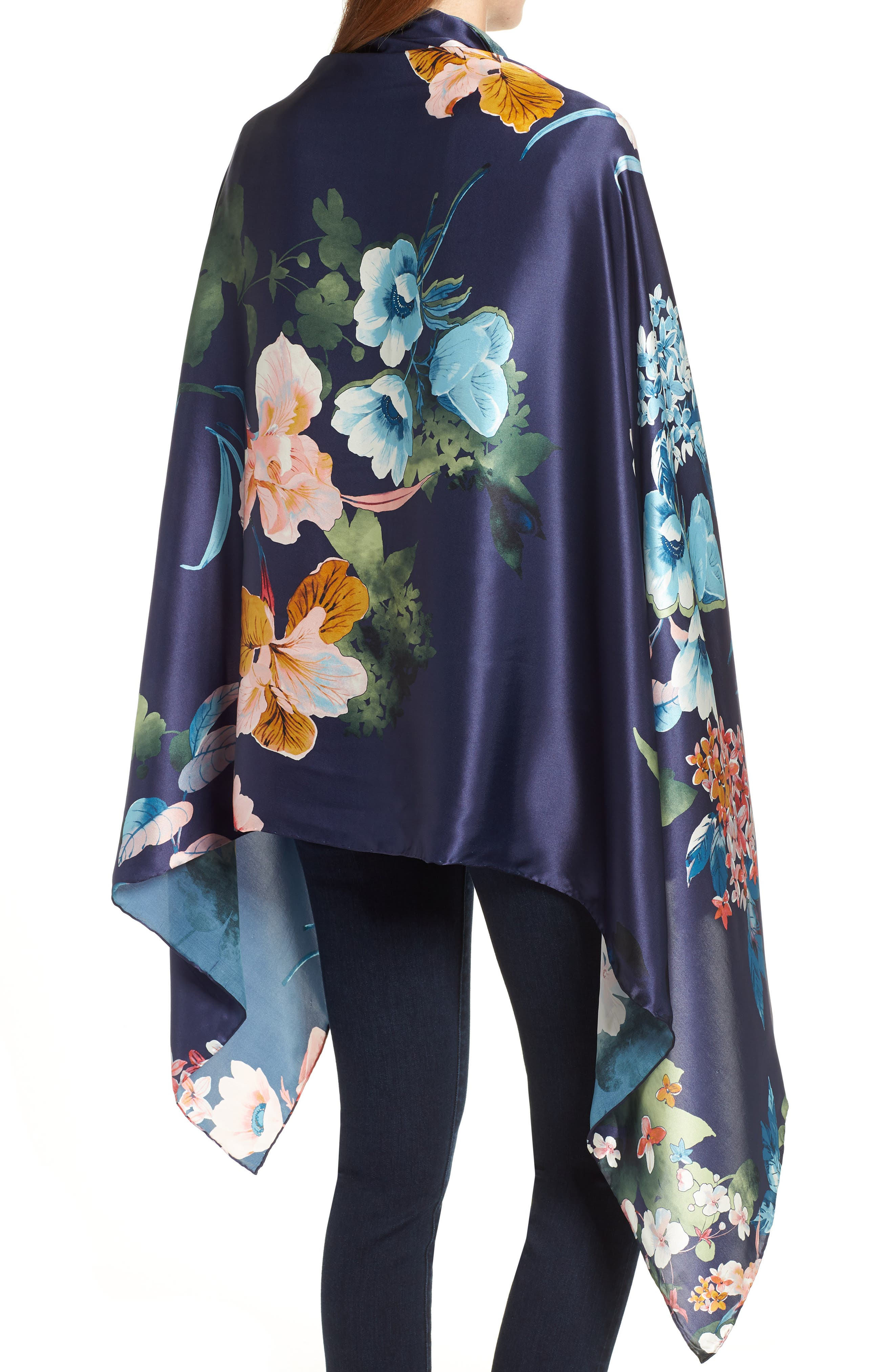 Flower Print Silk Wrap,                             Alternate thumbnail 2, color,                             410