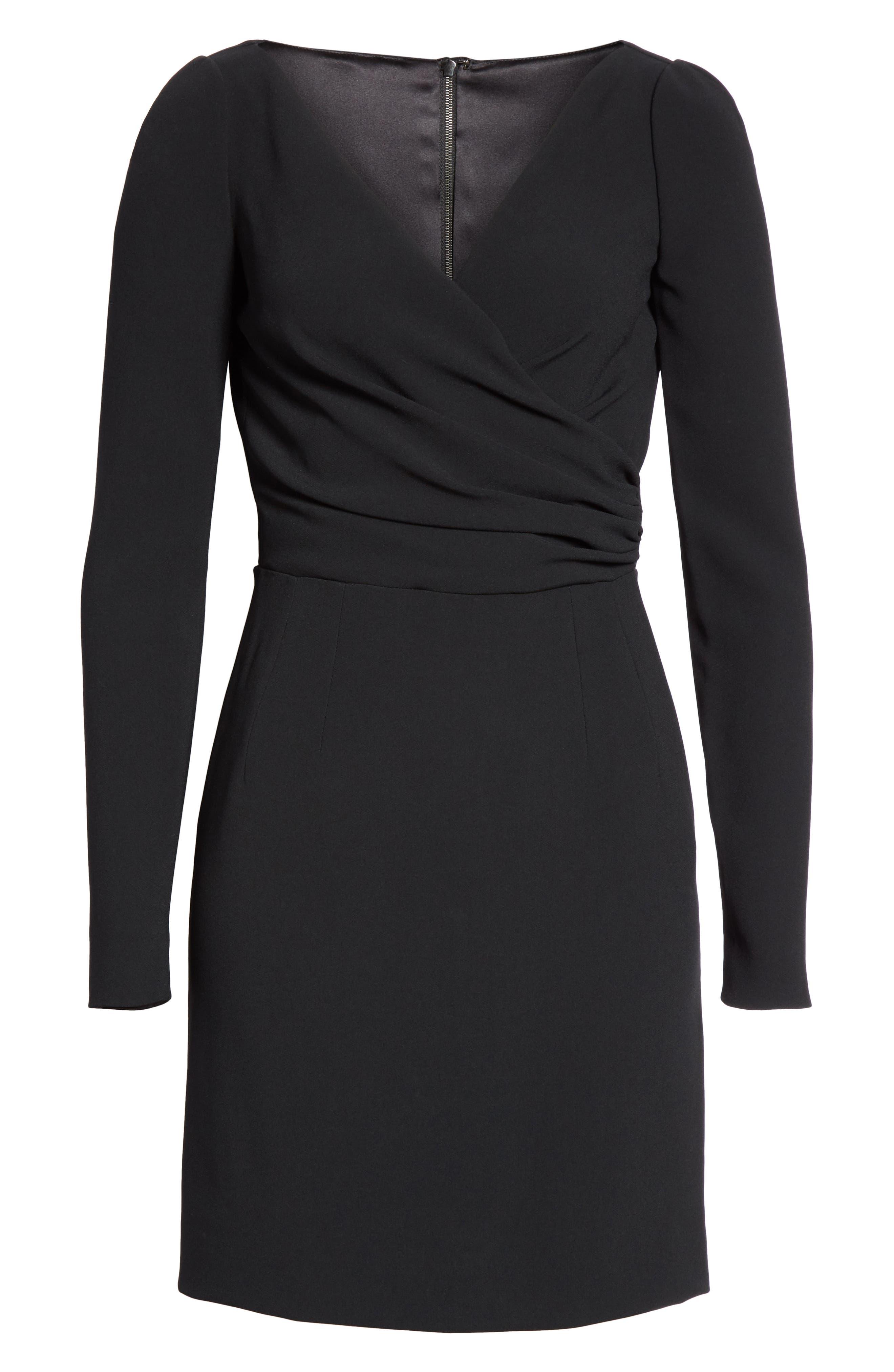 Surplice Dress,                             Alternate thumbnail 7, color,                             BLACK