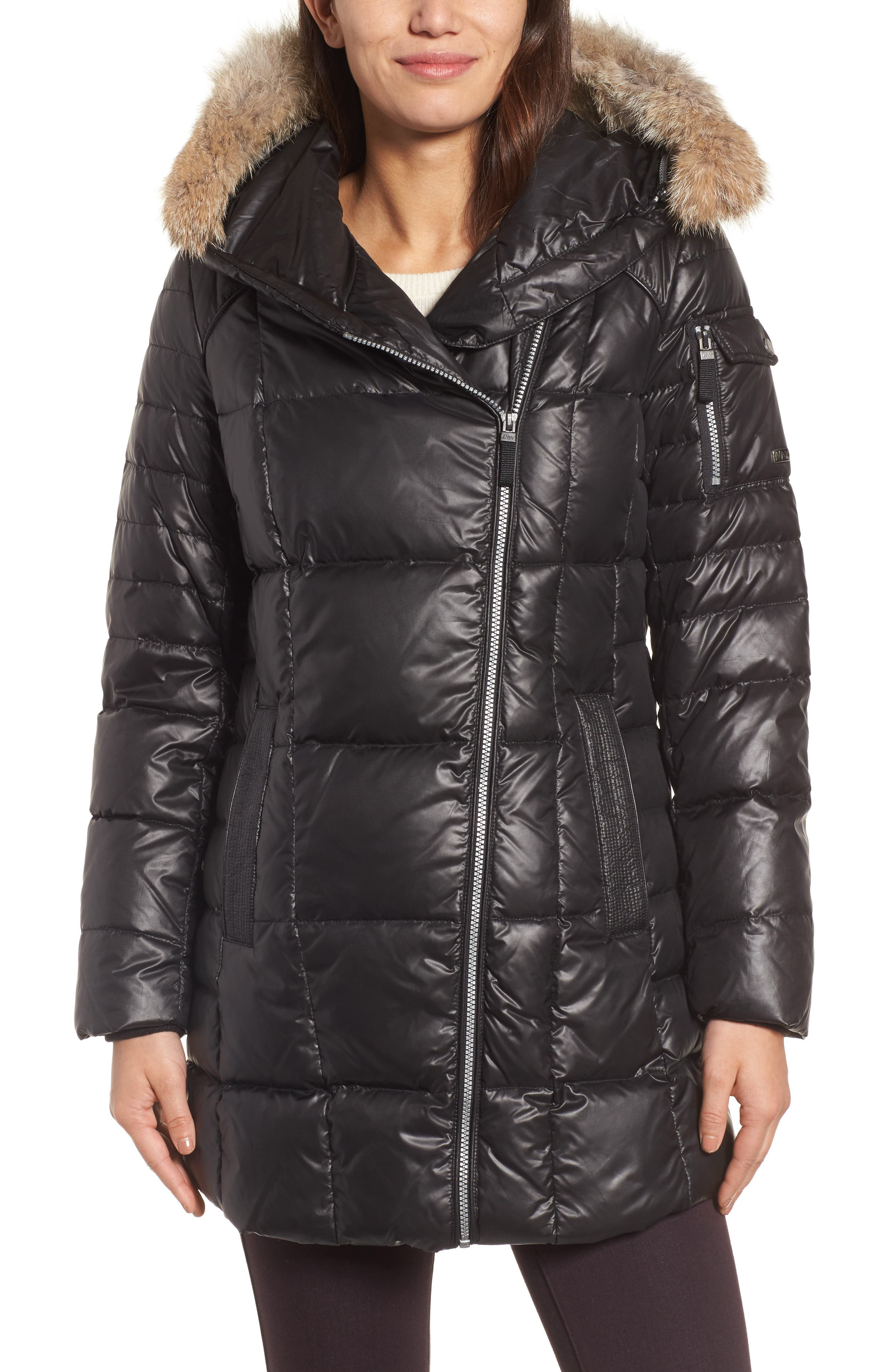 Down & Feather Fill Coat with Genuine Coyote Fur,                         Main,                         color,