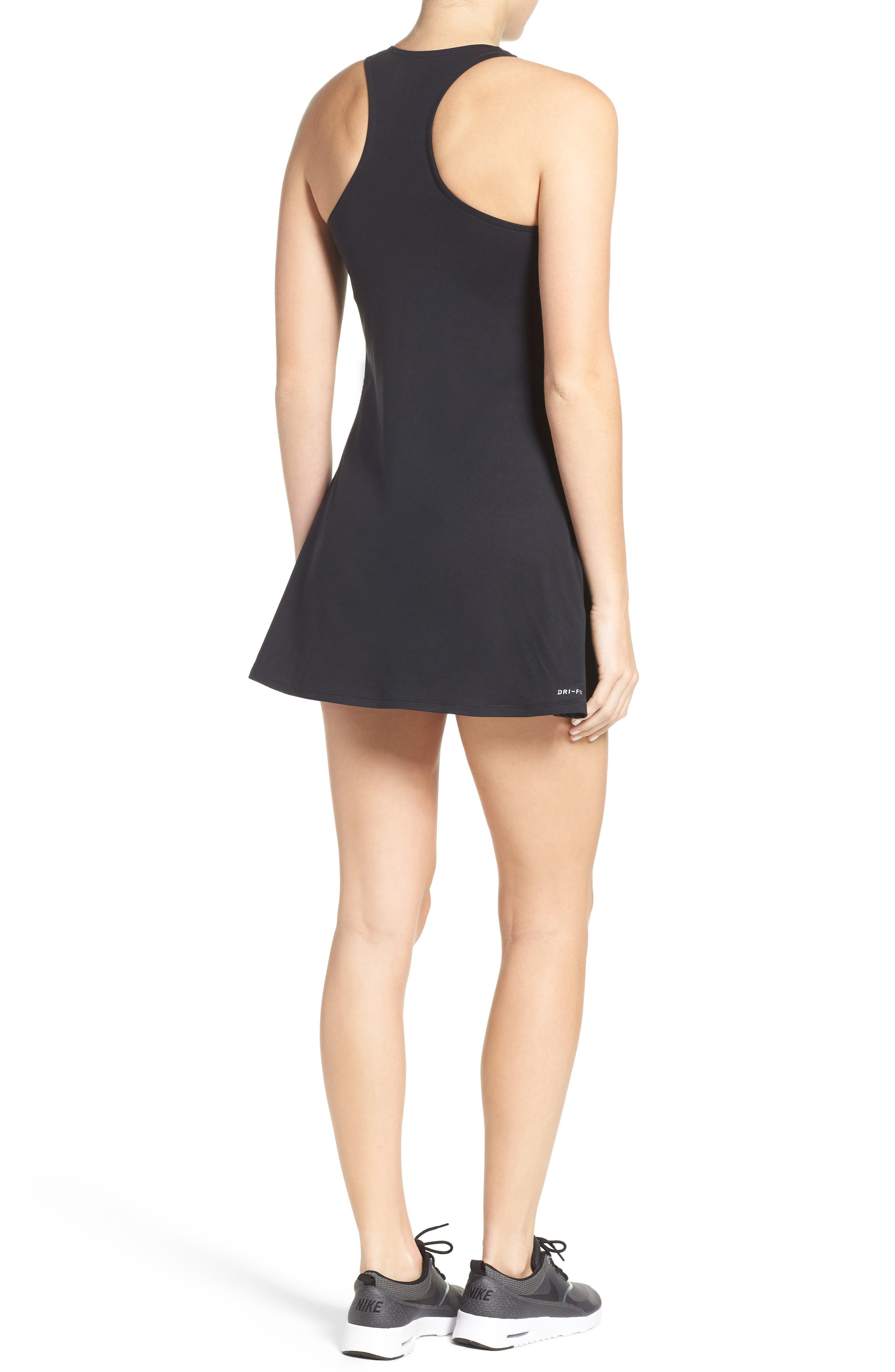Dri-FIT Tennis Dress,                             Alternate thumbnail 2, color,                             BLACK/ WHITE