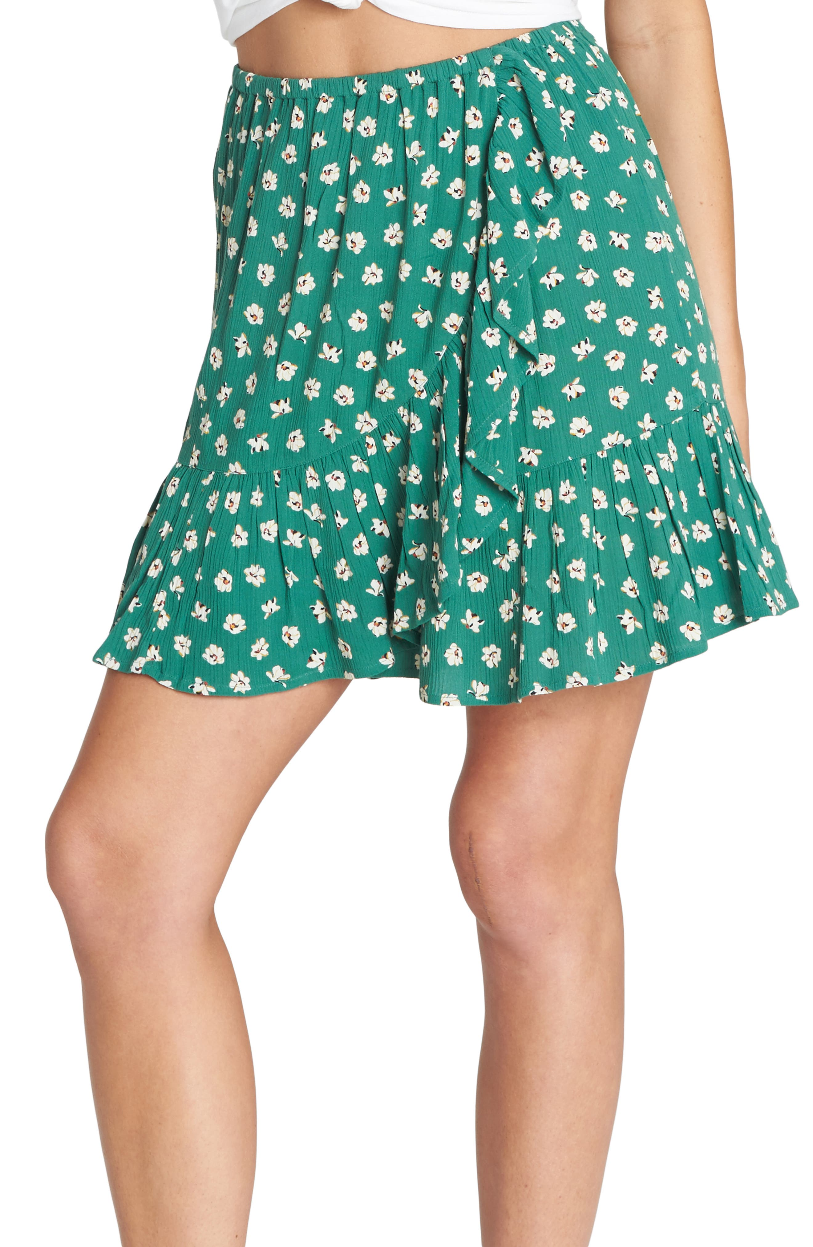 BILLABONG,                             For the Ride Floral Print Faux Wrap Skirt,                             Main thumbnail 1, color,                             ISLAND GREEN