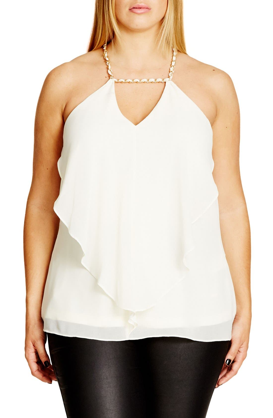 'Impress' Chain Detail Draped Chiffon Camisole,                             Main thumbnail 1, color,                             108