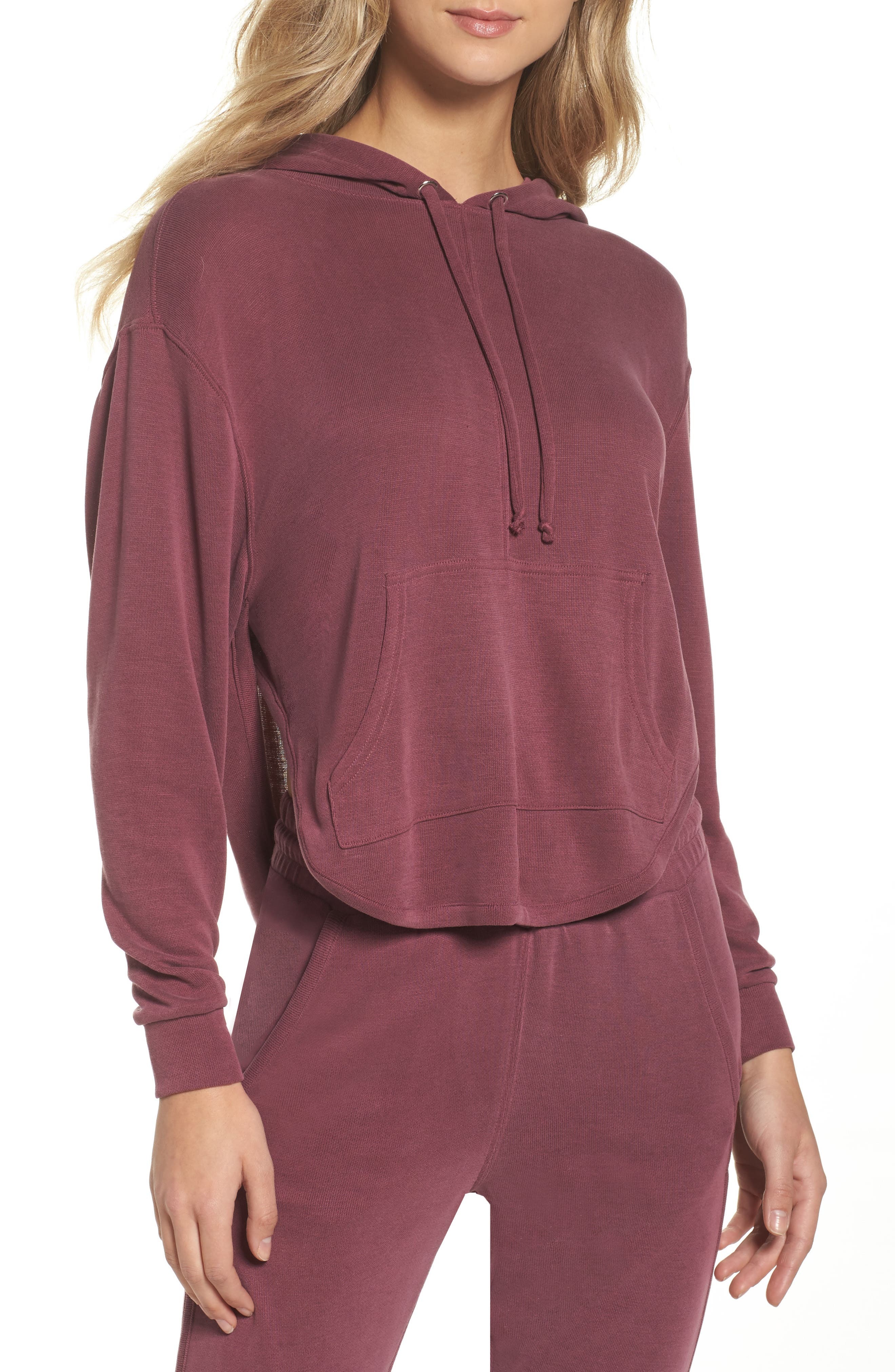 Back Into It Cutout Hoodie,                             Main thumbnail 1, color,                             WINE