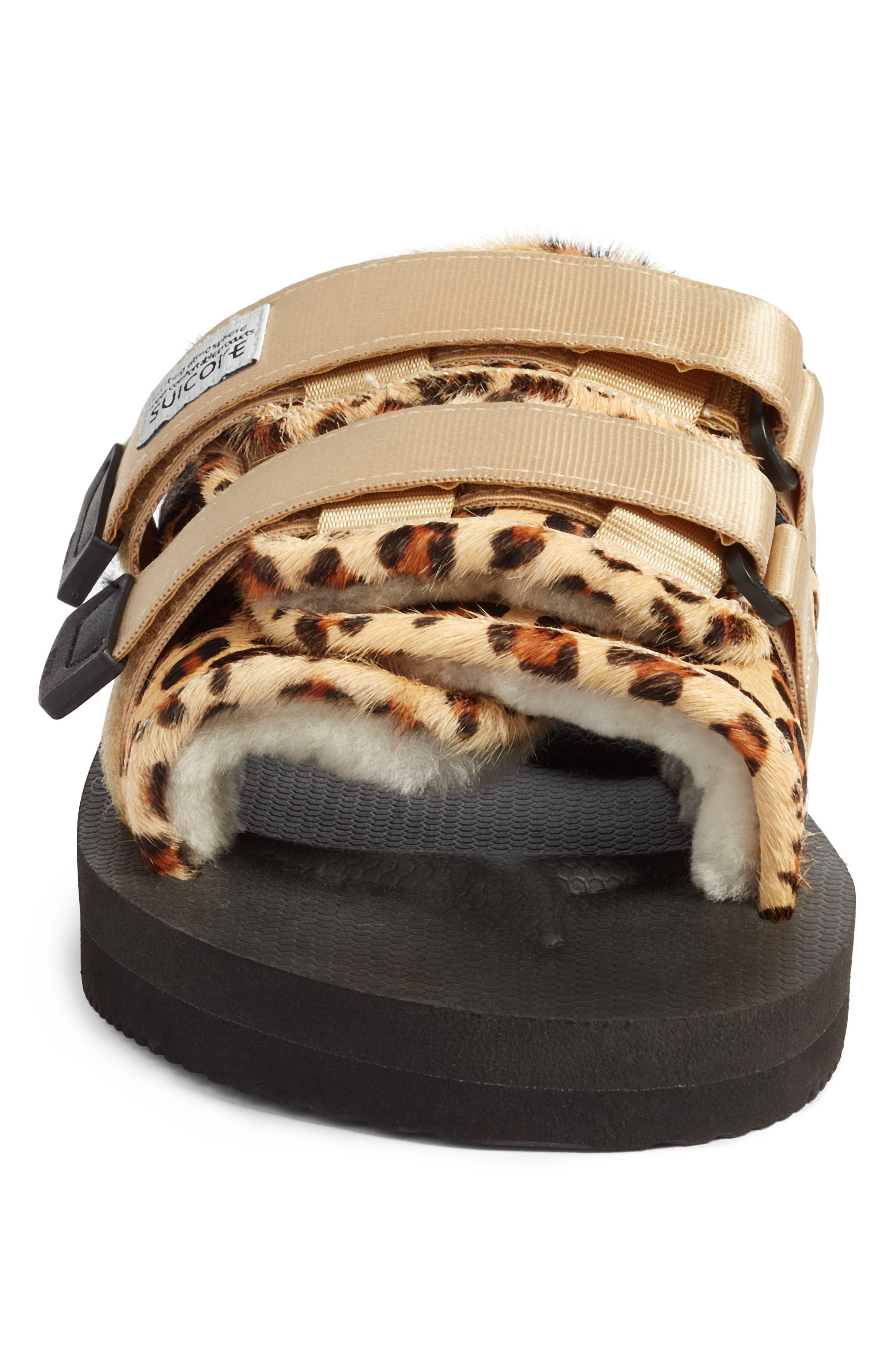 Moto Cab Genuine Calf Hair Slide Sandal,                             Alternate thumbnail 4, color,                             LEOPARD PRINT CALF HAIR