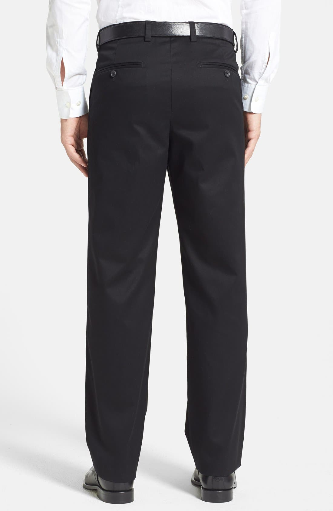 NORDSTROM MEN'S SHOP,                             'Classic' Smartcare<sup>™</sup> Relaxed Fit Flat Front Cotton Pants,                             Alternate thumbnail 3, color,                             BLACK