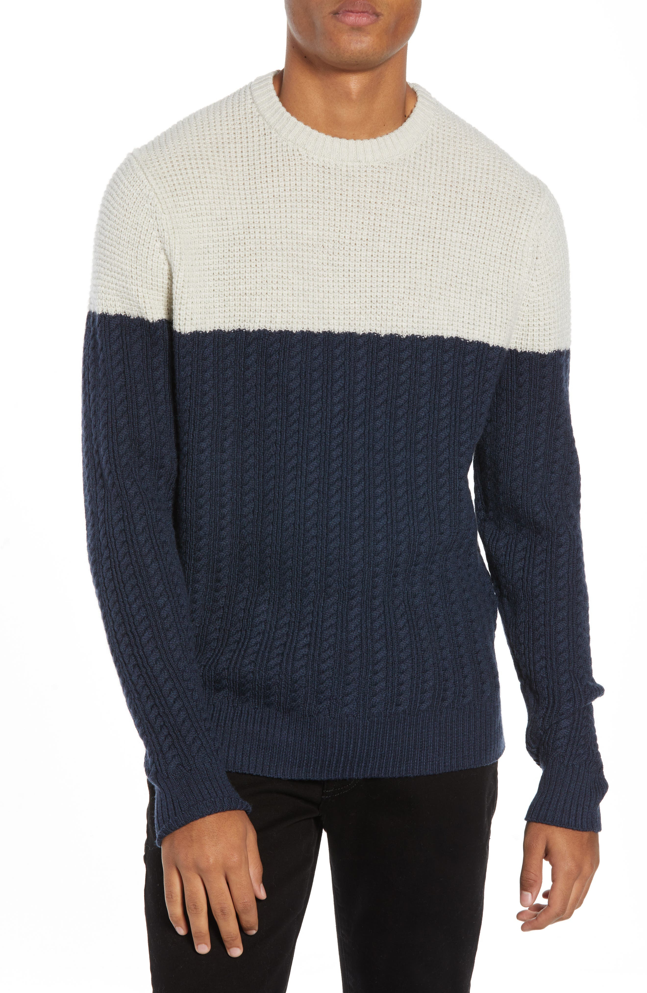 Nordstrom Signature Block Merino Wool Cable Knit Sweater, Blue