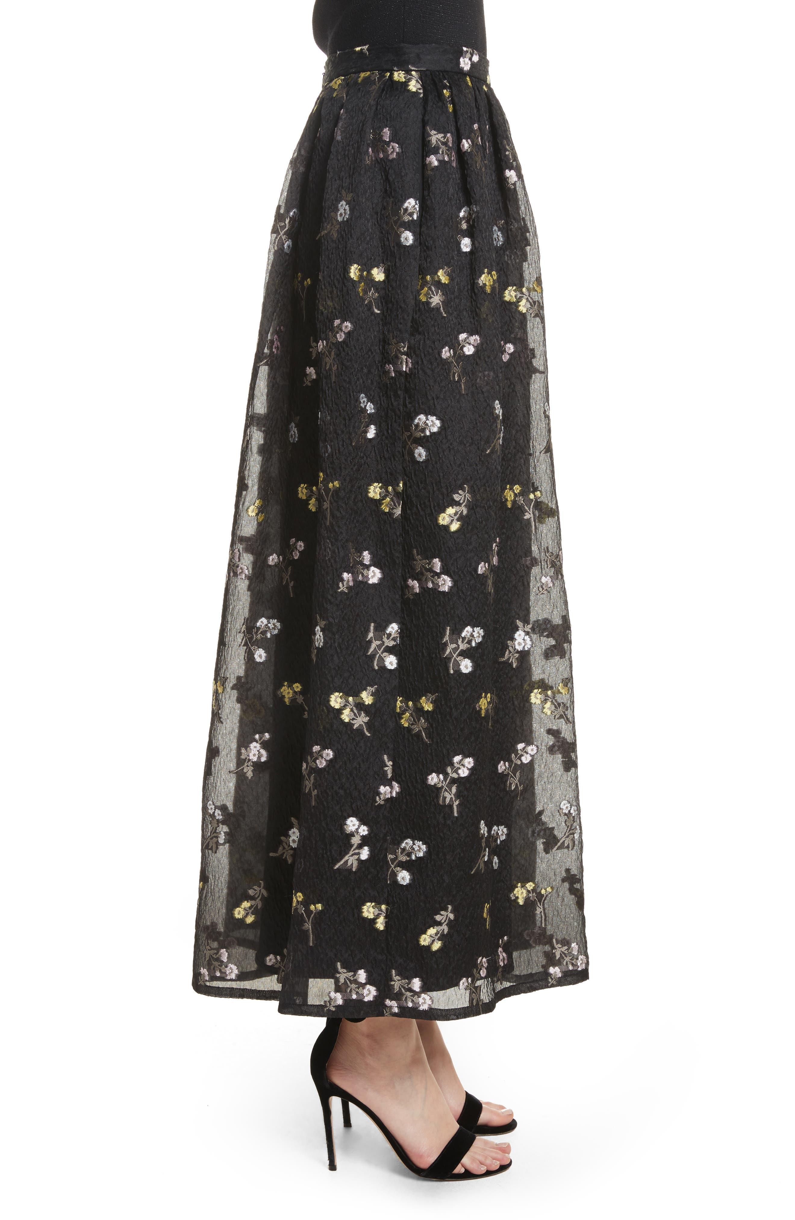 Floral Fil Coupé Organza Cloque Maxi Skirt,                             Alternate thumbnail 3, color,                             001