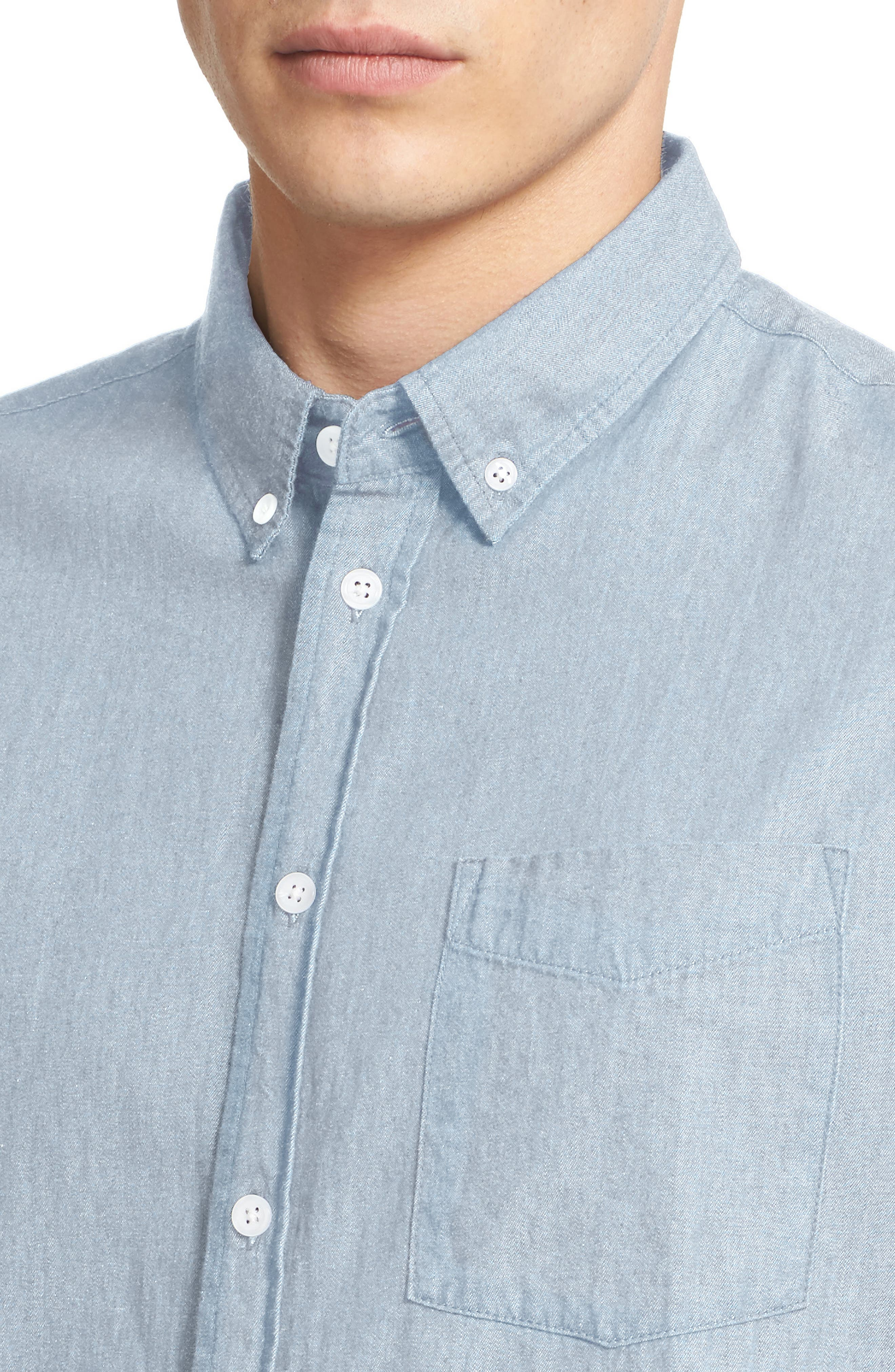 Esquina Slim Fit Denim Sport Shirt,                             Alternate thumbnail 5, color,                             WASHED INDIGO
