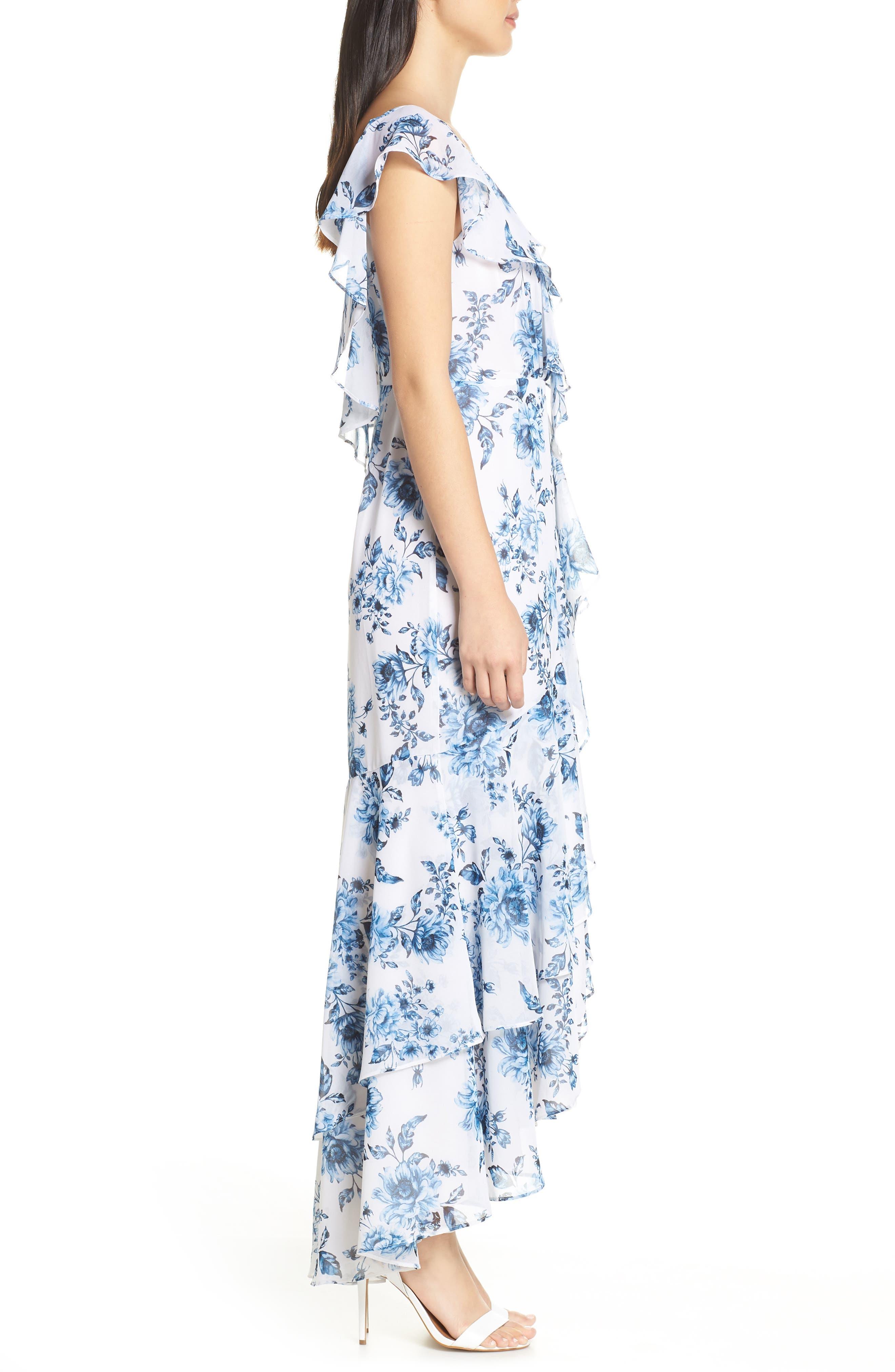 Elanor Ruffle Faux Wrap Maxi Dress,                             Alternate thumbnail 3, color,                             BLUE TOILE FLORAL