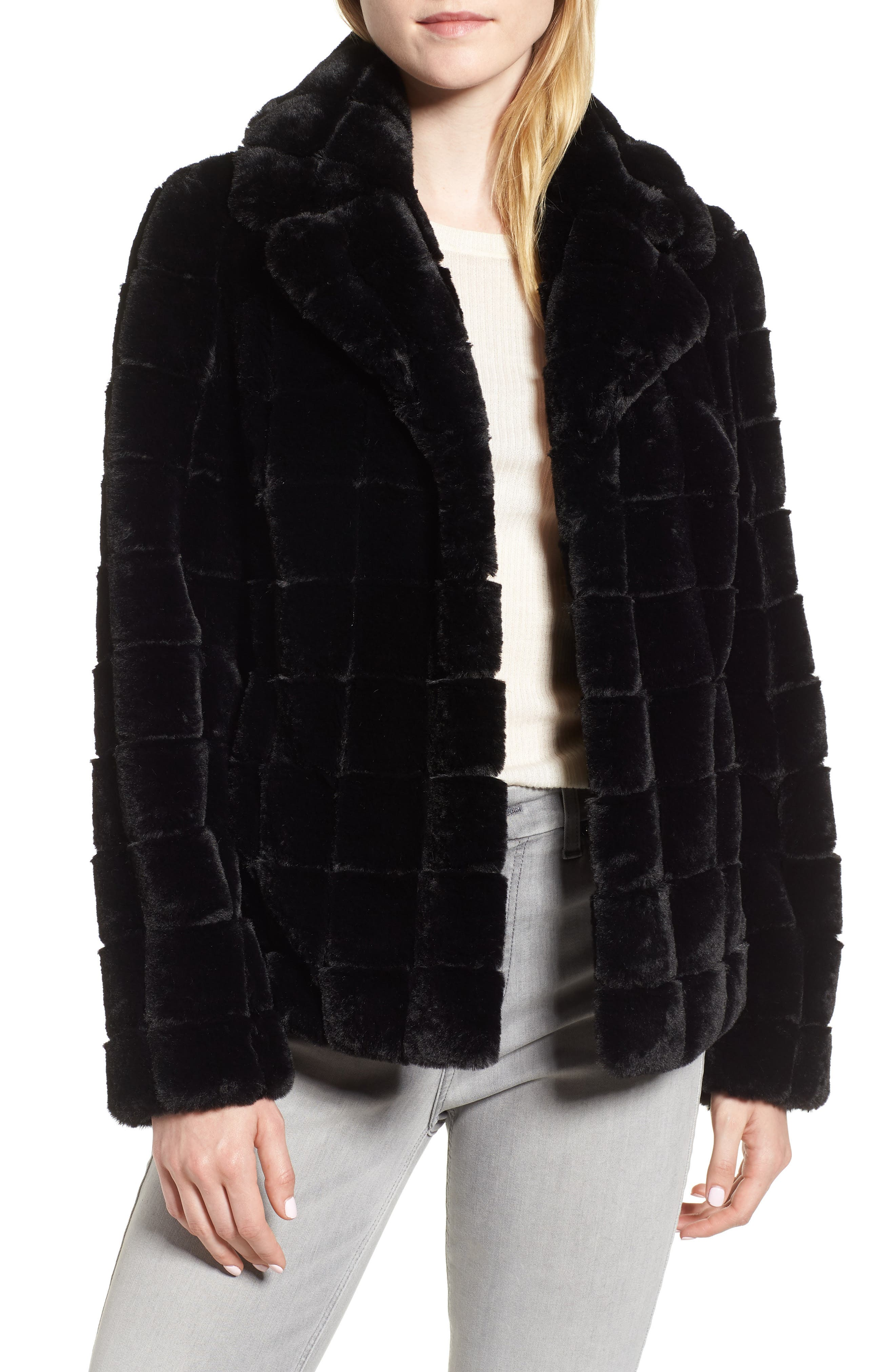 Quilted Faux Fur Jacket, Main, color, 001