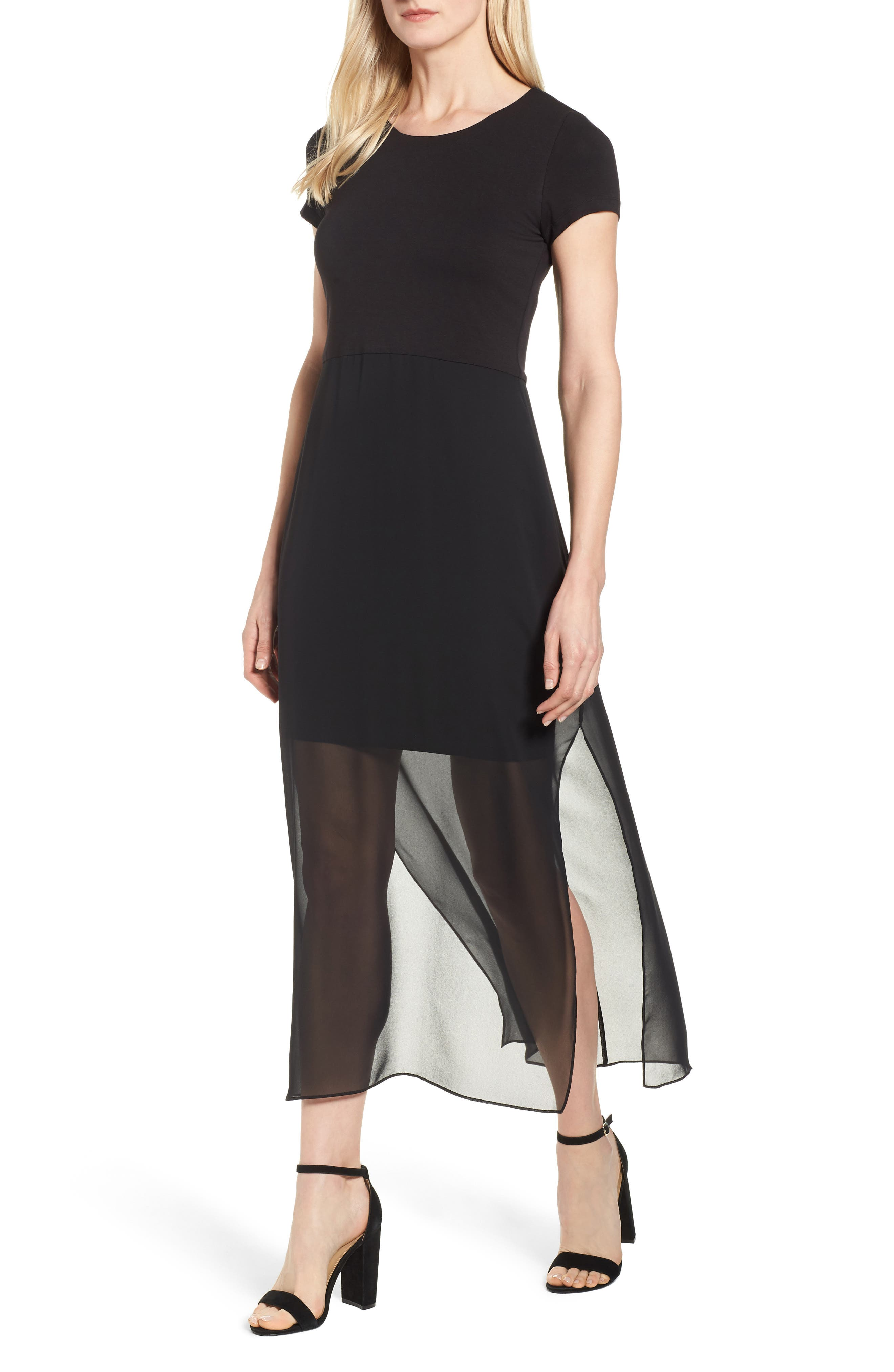 Vince Camuto Chiffon Overlay Maxi Dress, Black