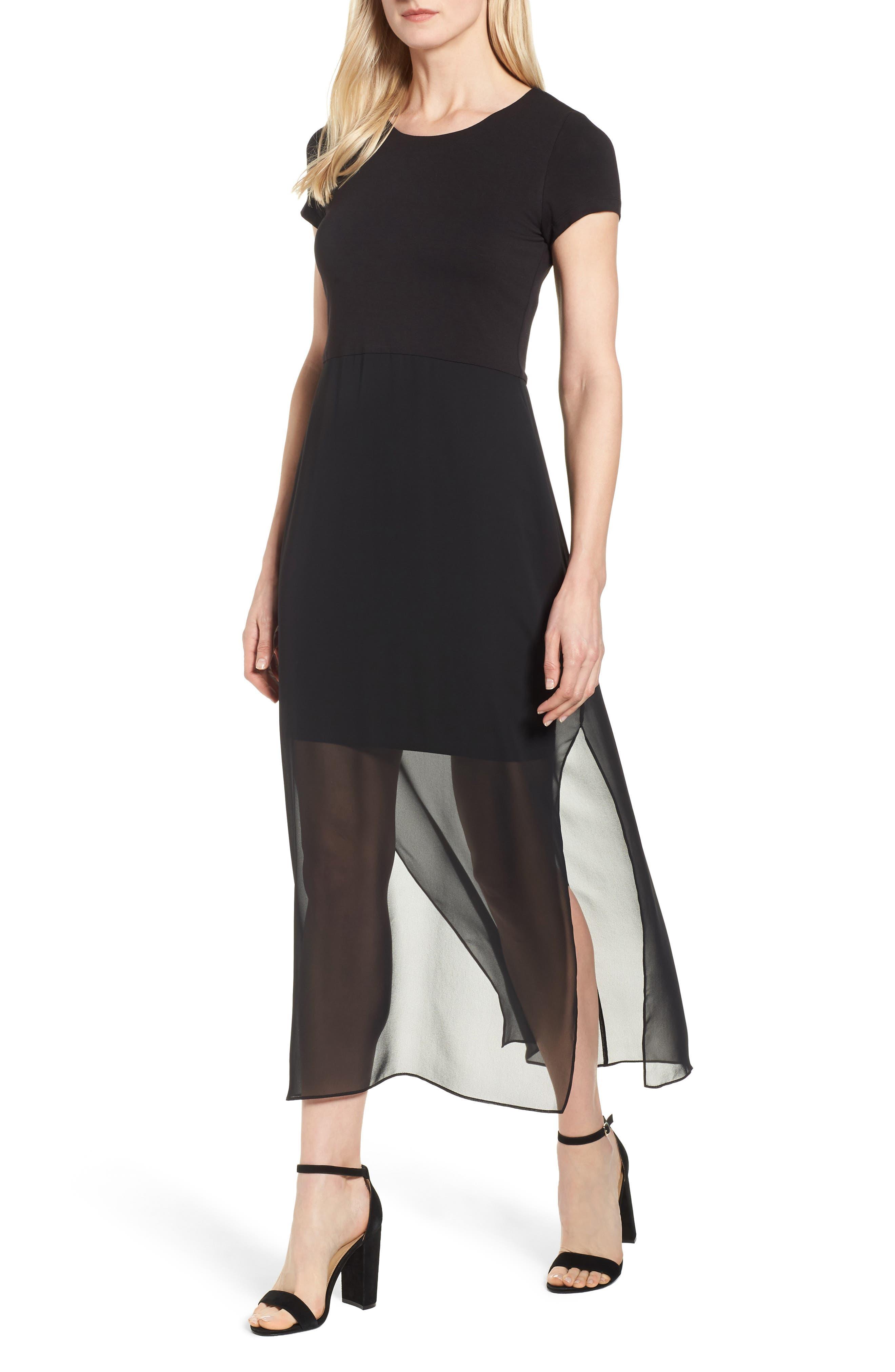 Chiffon Overlay Maxi Dress,                         Main,                         color, RICH BLACK