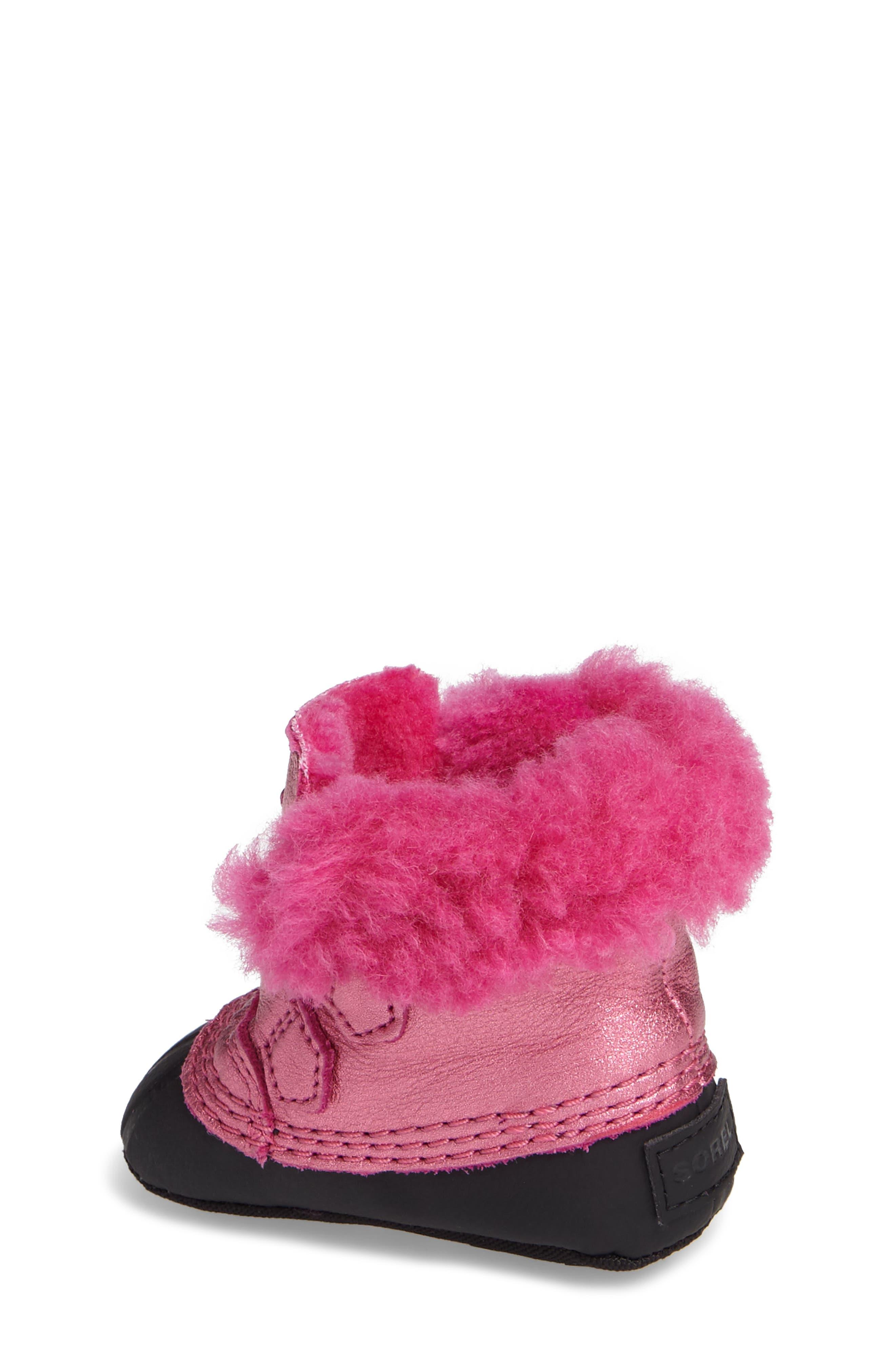 Caribootie Genuine Shearling Crib Shoe,                             Alternate thumbnail 11, color,