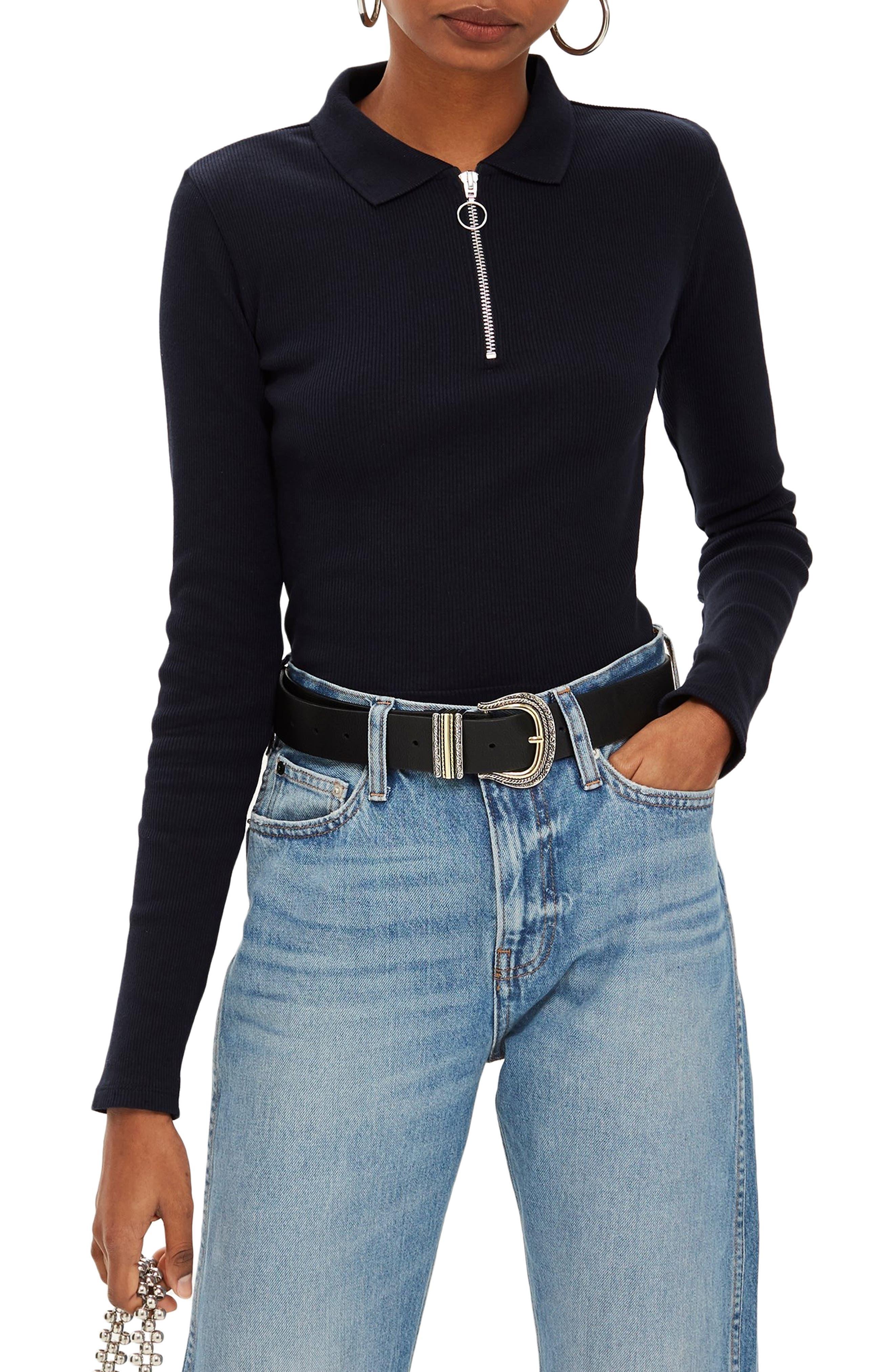 Front Zip Polo Shirt,                             Main thumbnail 1, color,                             NAVY BLUE