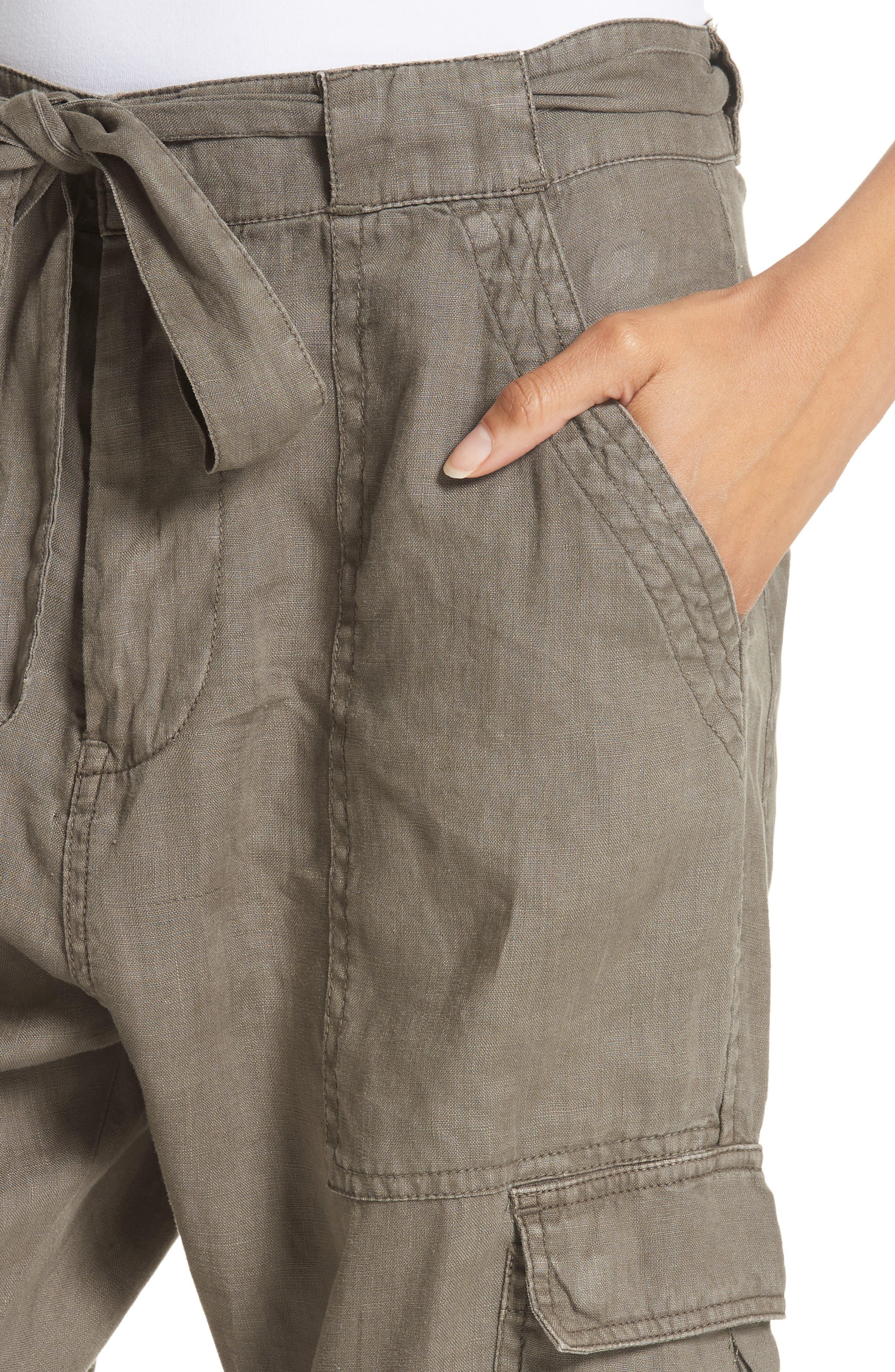 Erlette Linen Tie Cuff Crop Pants,                             Alternate thumbnail 8, color,