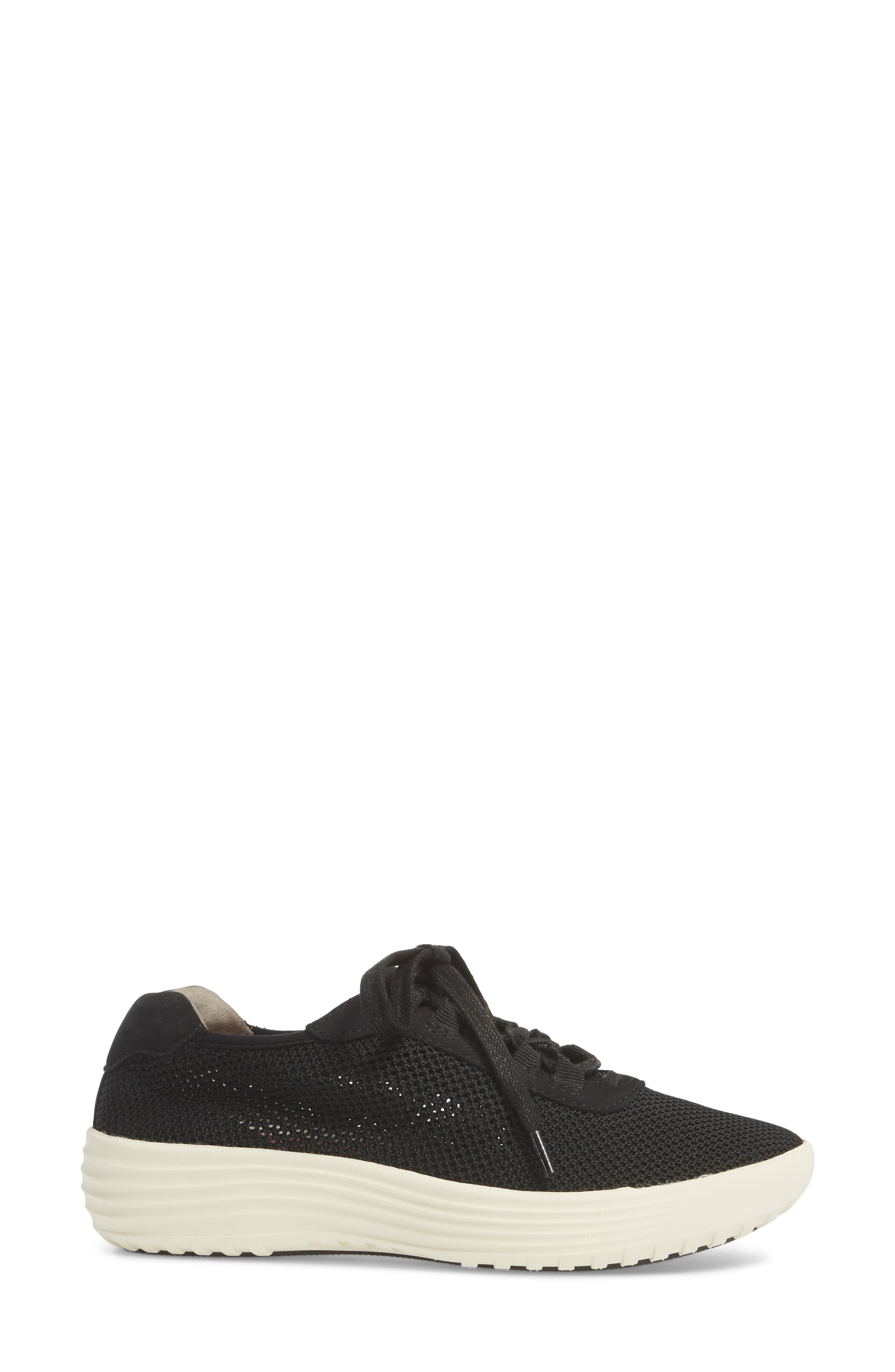 Malibu Sneaker,                             Alternate thumbnail 3, color,                             BLACK KNIT FABRIC