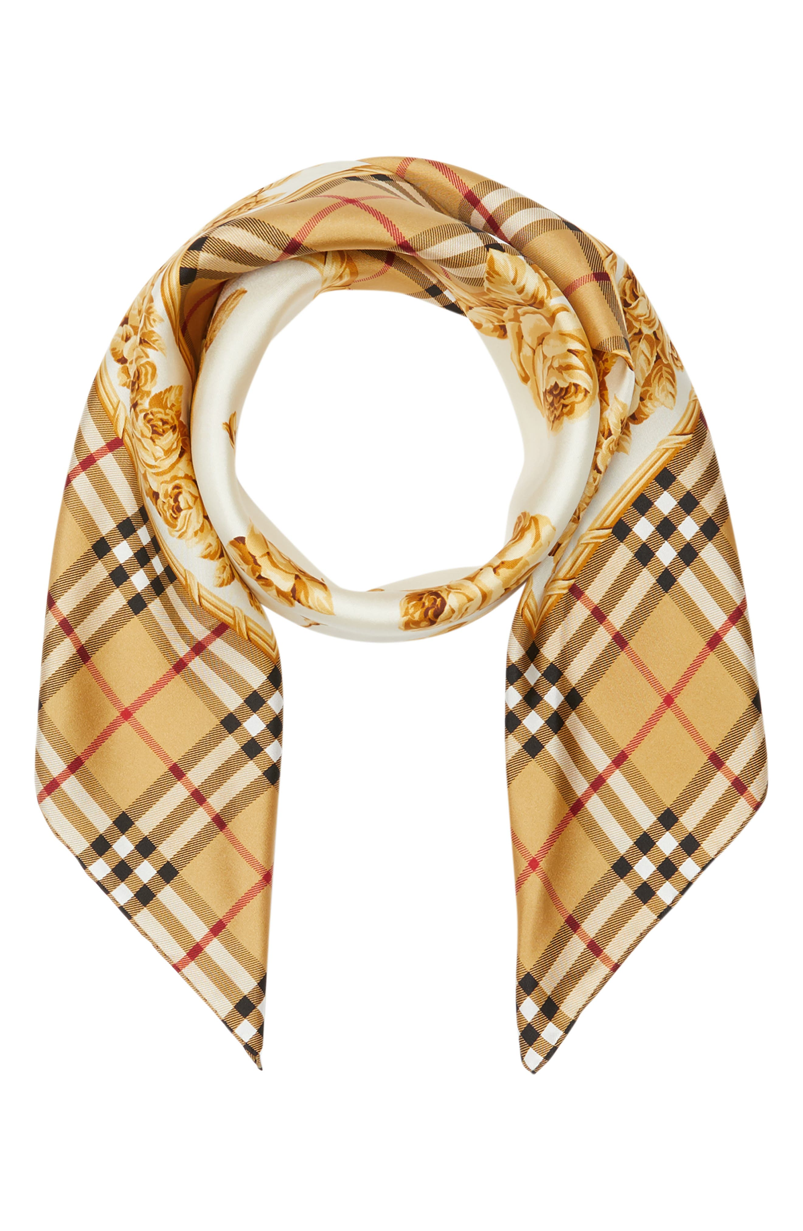 Check & Roses Square Silk Scarf,                             Alternate thumbnail 3, color,                             ANTIQUE YELLOW