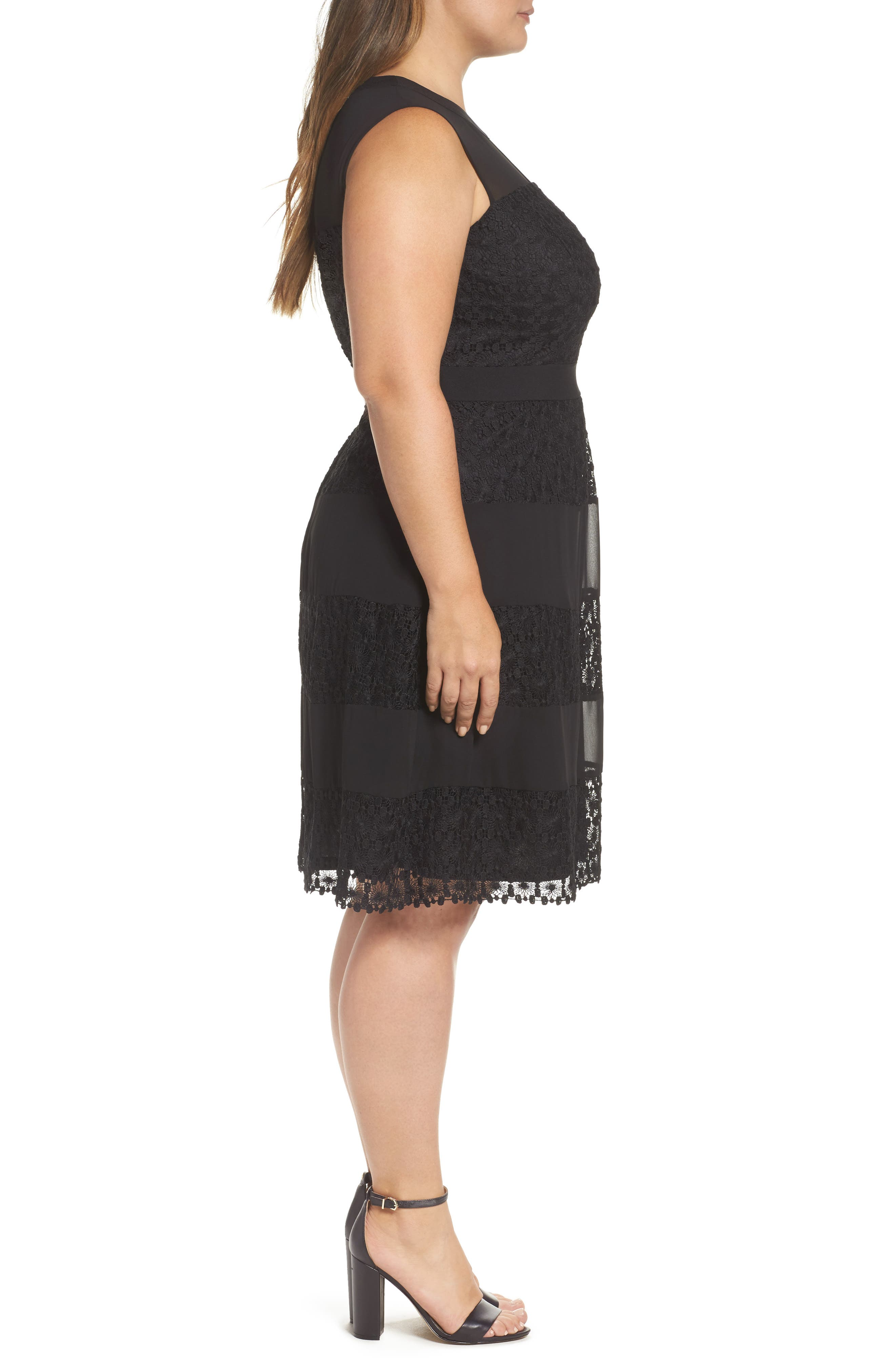 London Time Geo Galaxy Lace Fit & Flare Dress,                             Alternate thumbnail 3, color,                             001