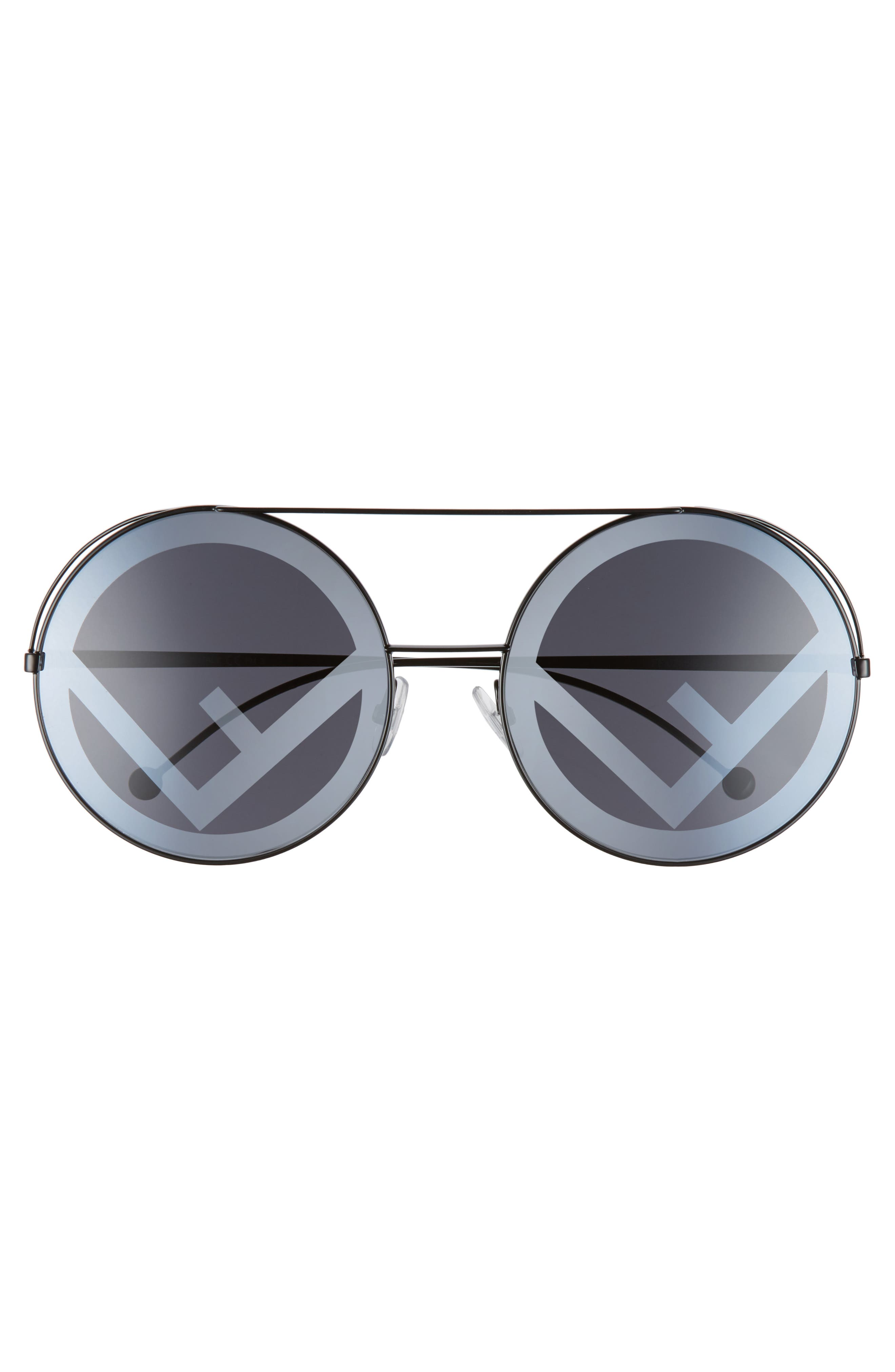 Run Away 63mm Round Sunglasses,                             Alternate thumbnail 3, color,                             BLACK