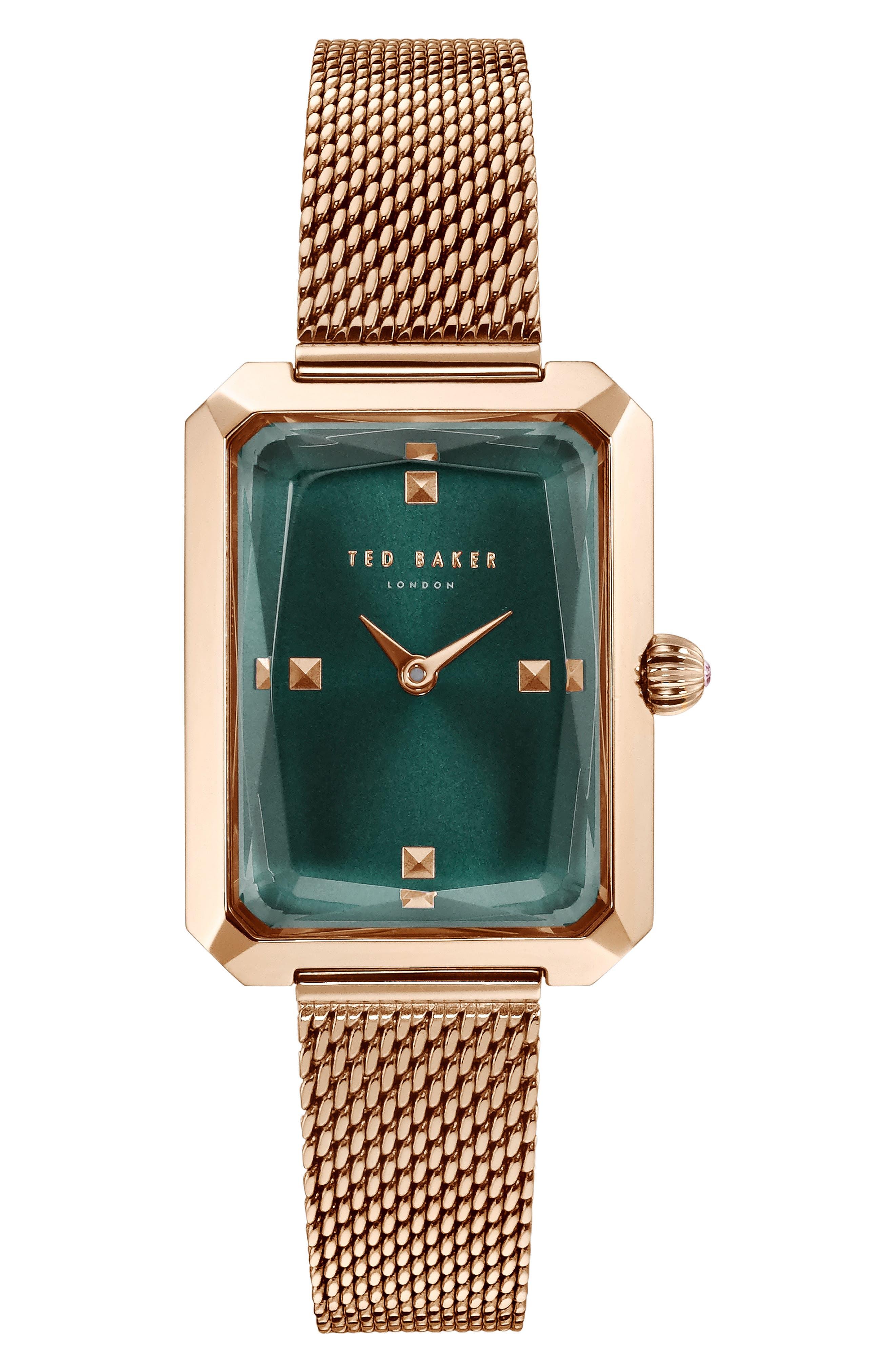 Cara Mesh Strap Watch, 22mm,                         Main,                         color, ROSE GOLD/ GREEN/ ROSE GOLD