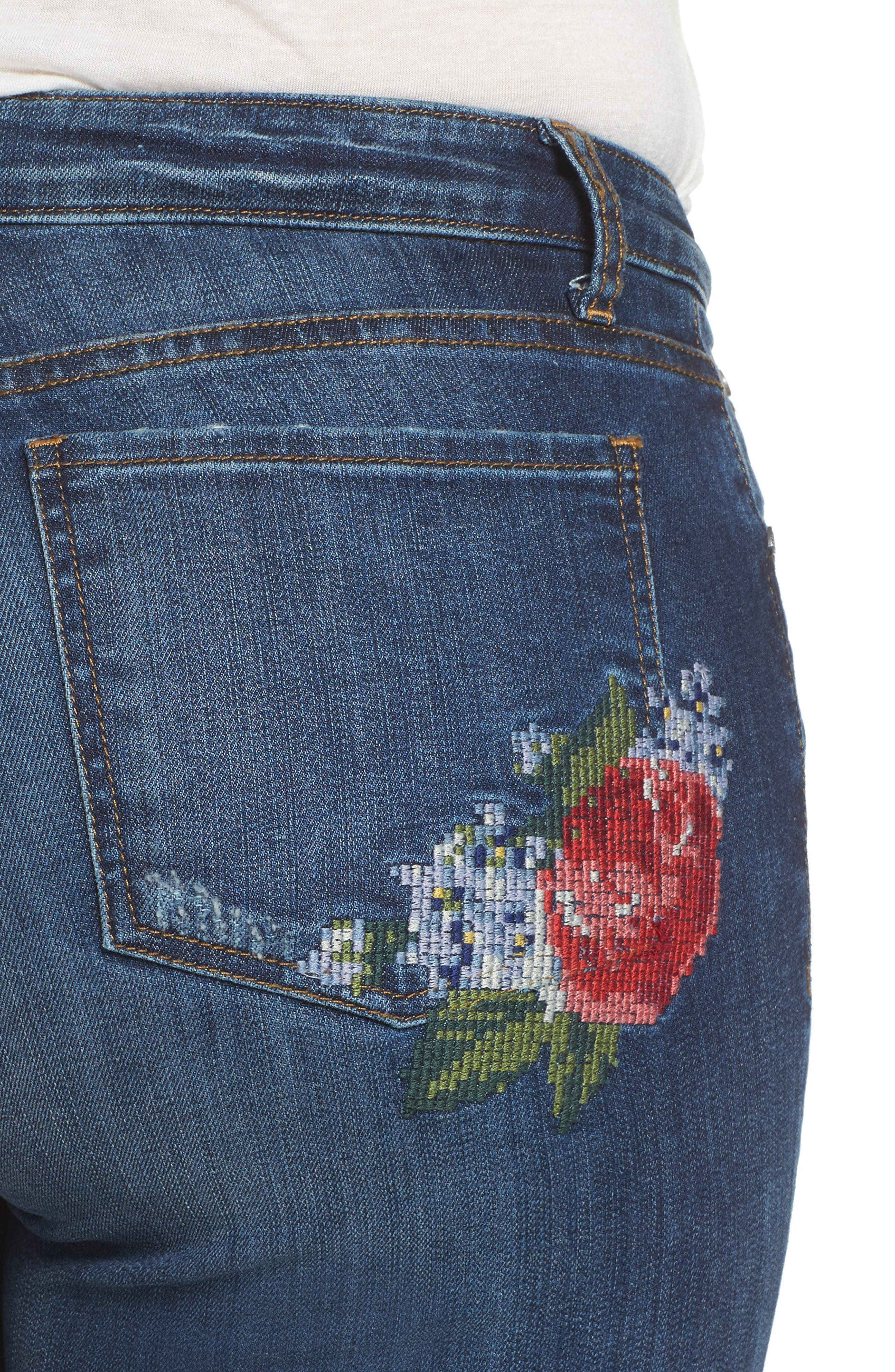 Catherine Embroidered Boyfriend Jeans,                             Alternate thumbnail 4, color,                             400
