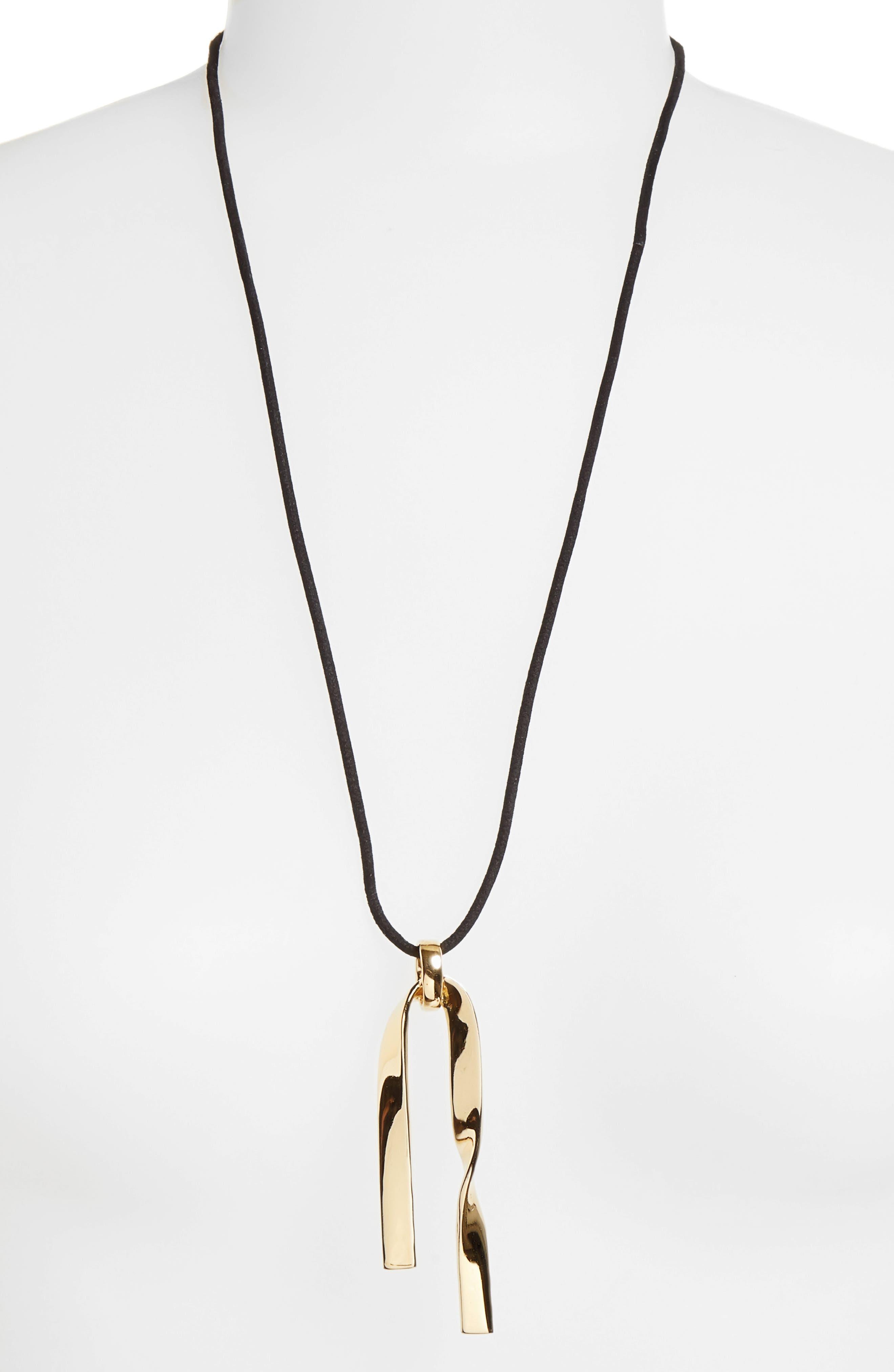 Twist Metal Pendant Necklace,                             Alternate thumbnail 2, color,                             LIGHT GOLD