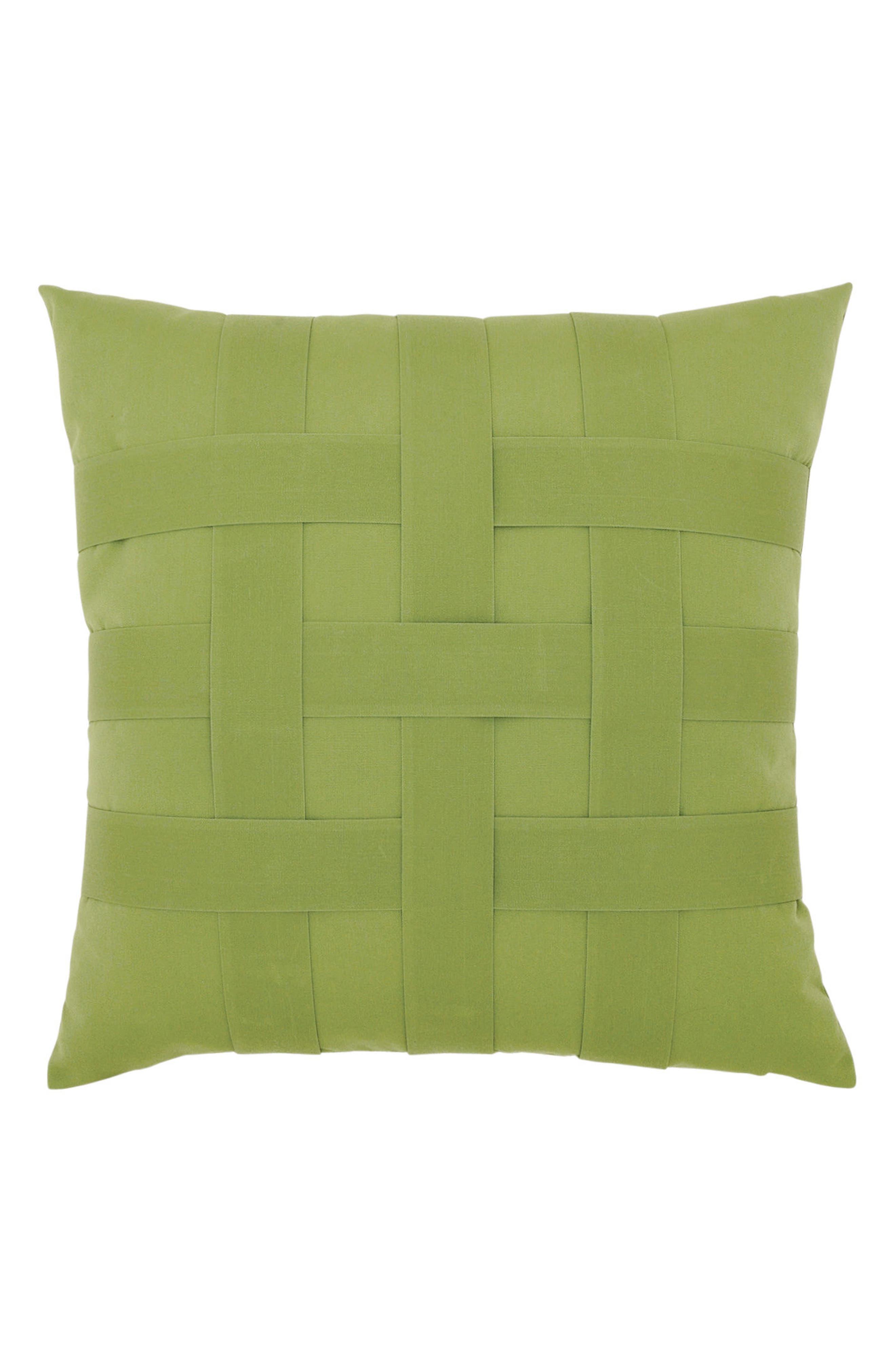 Basket Weave Indoor/Outdoor Accent Pillow,                         Main,                         color, GREEN