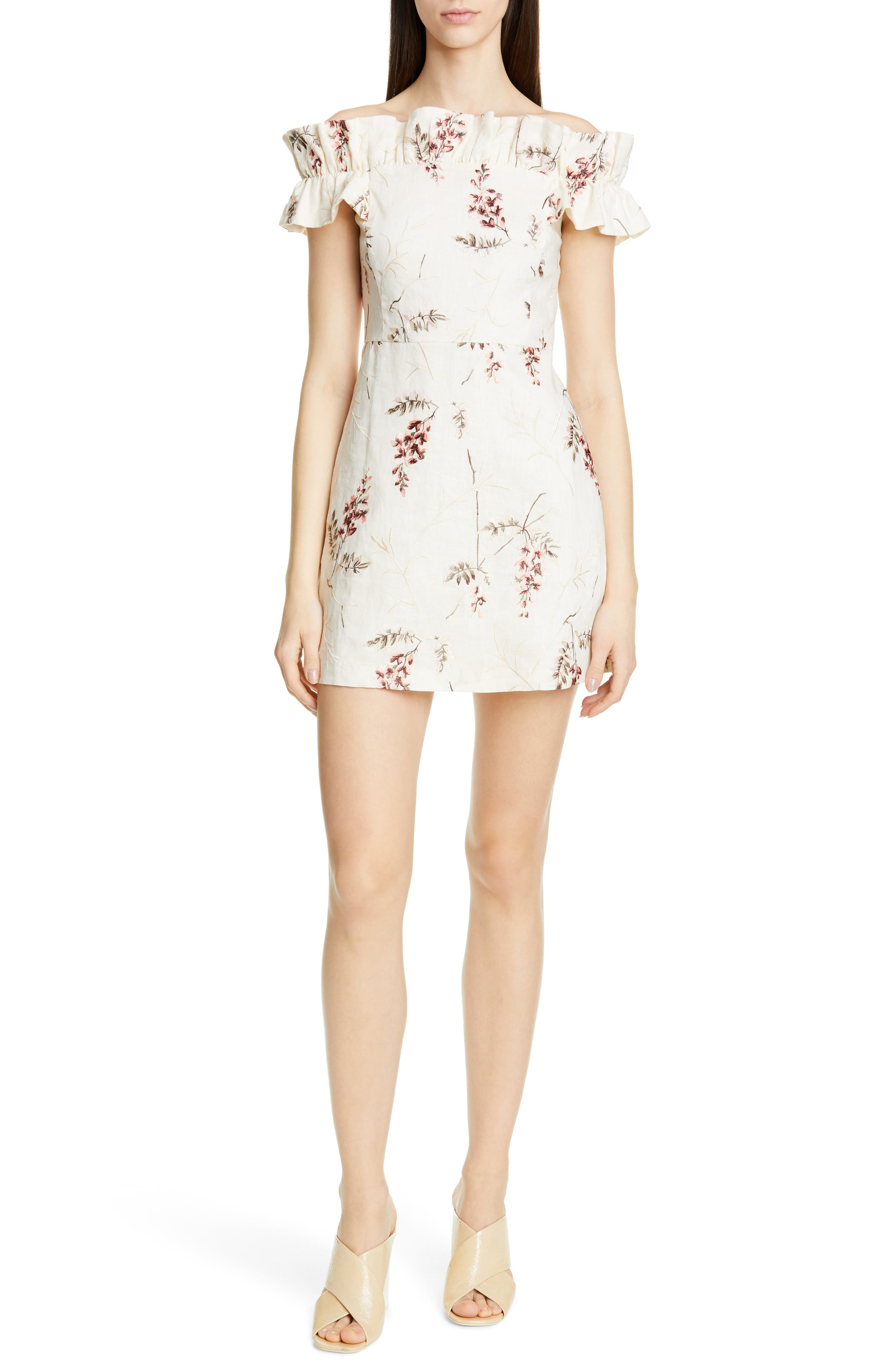 Rebecca Taylor Ivie Off The Shoulder Embroidered Detail Linen Dress, Ivory