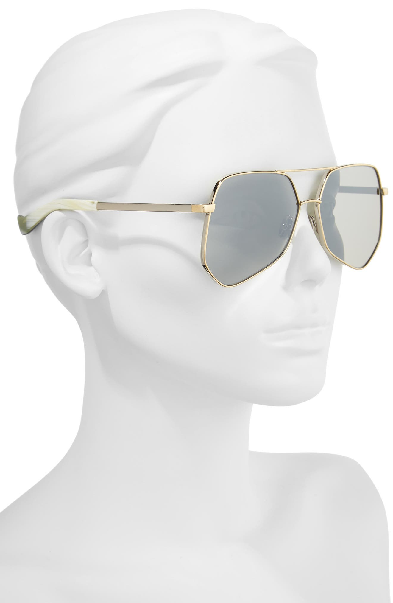 Megalast Flat 61mm Sunglasses,                             Alternate thumbnail 2, color,                             SILVER GOLD/ SILVER