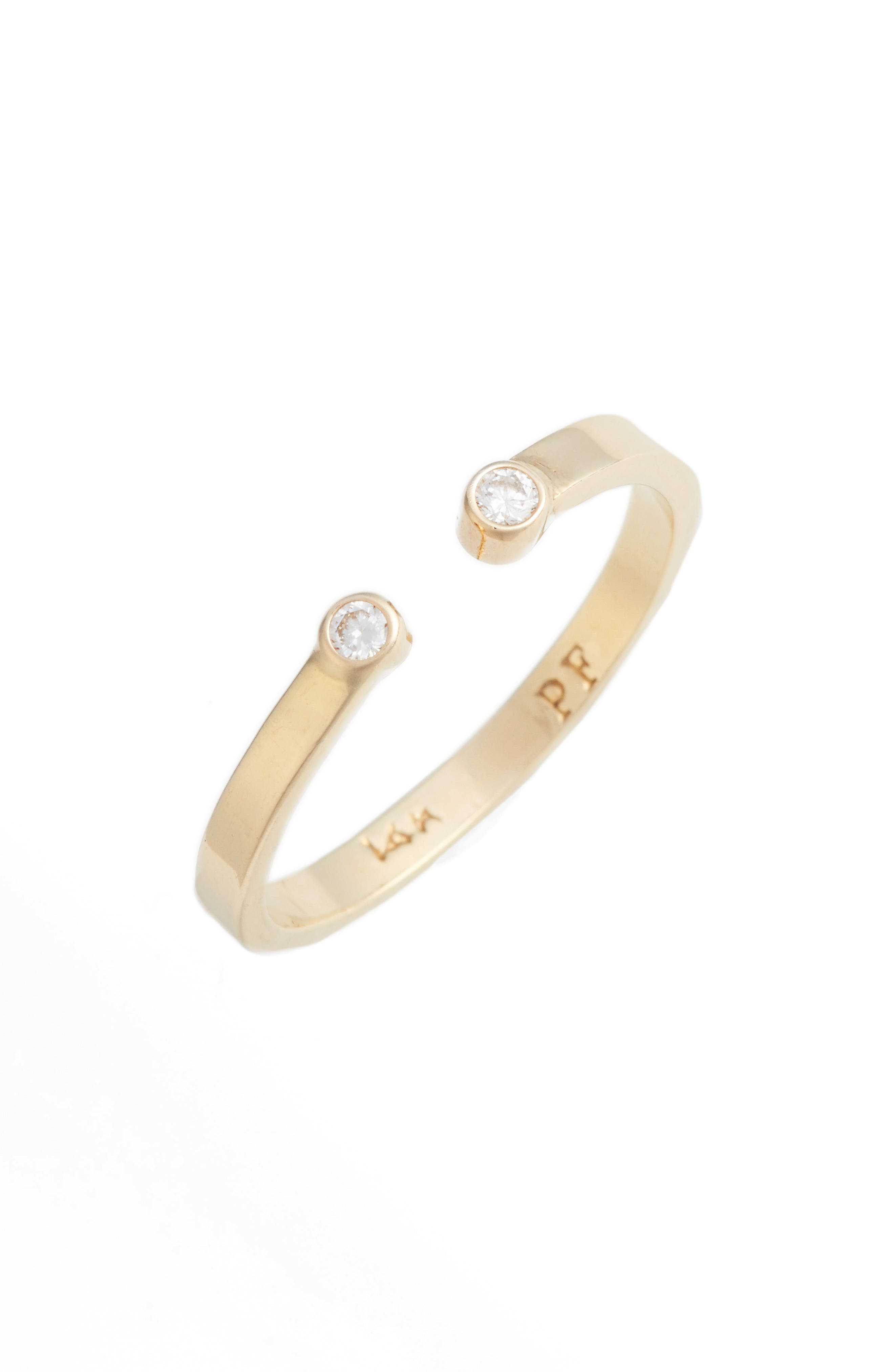 Open Band Diamond Ring,                         Main,                         color, YELLOW GOLD