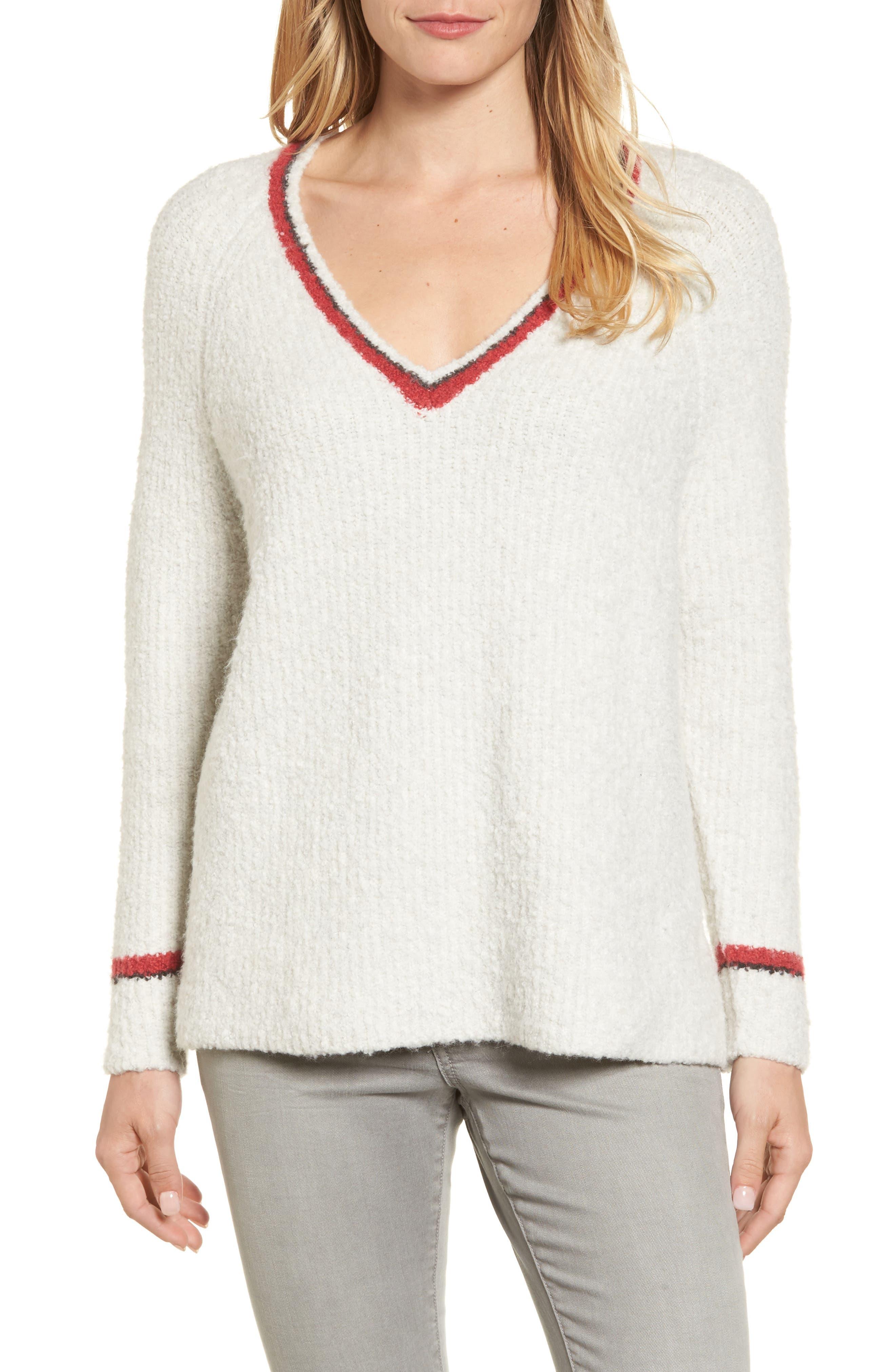 Bouclé V-neck Sweater,                             Main thumbnail 1, color,                             905