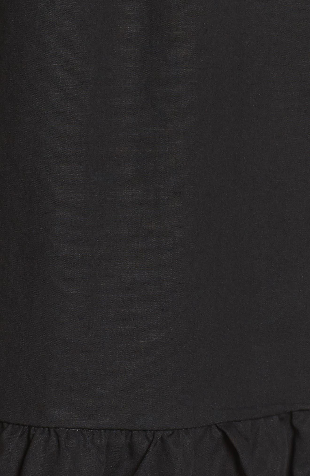 Leah Lace Trim A-Line Dress,                             Alternate thumbnail 5, color,                             001