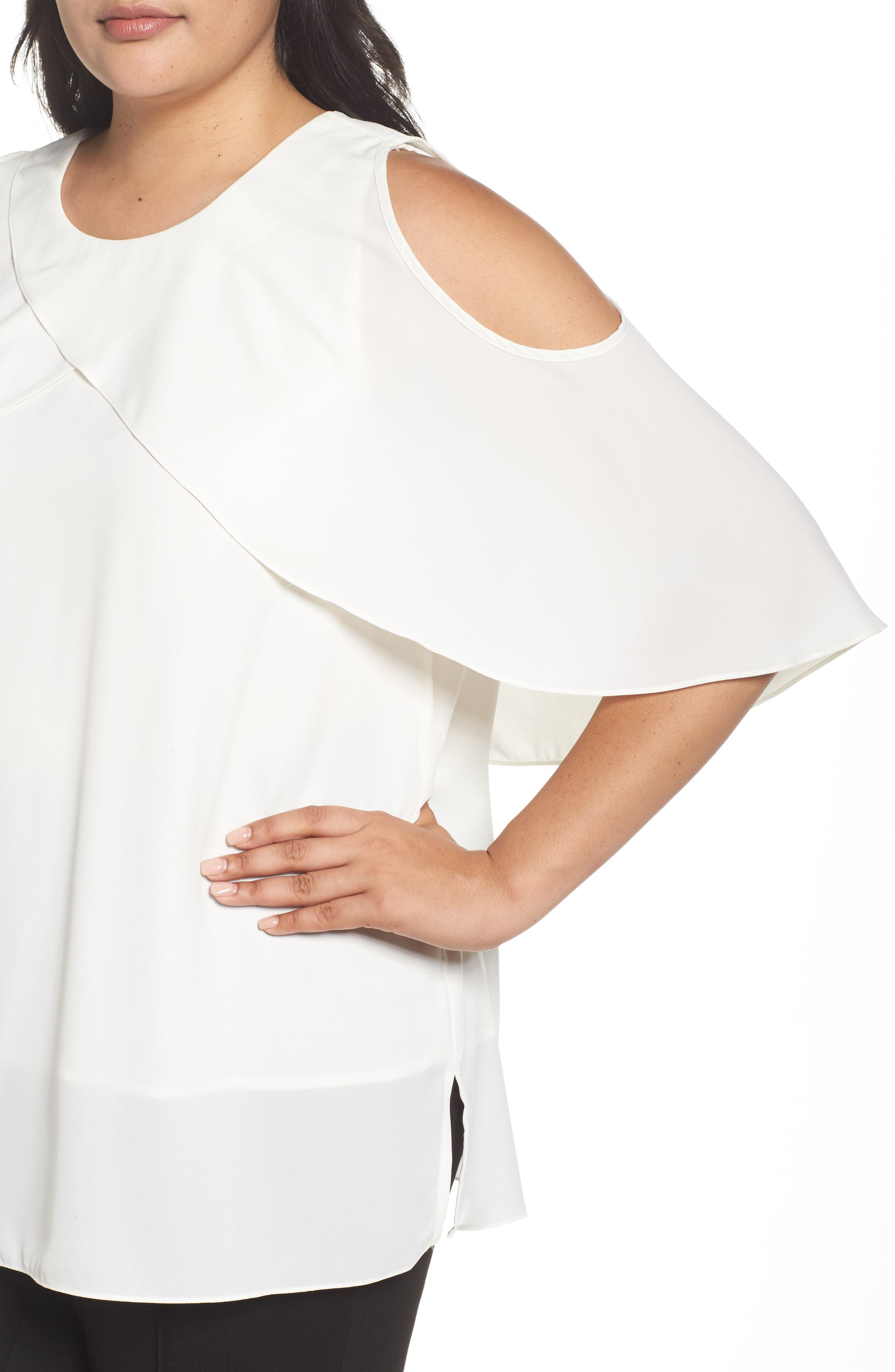 Cold Shoulder Ruffled Blouse,                             Alternate thumbnail 16, color,