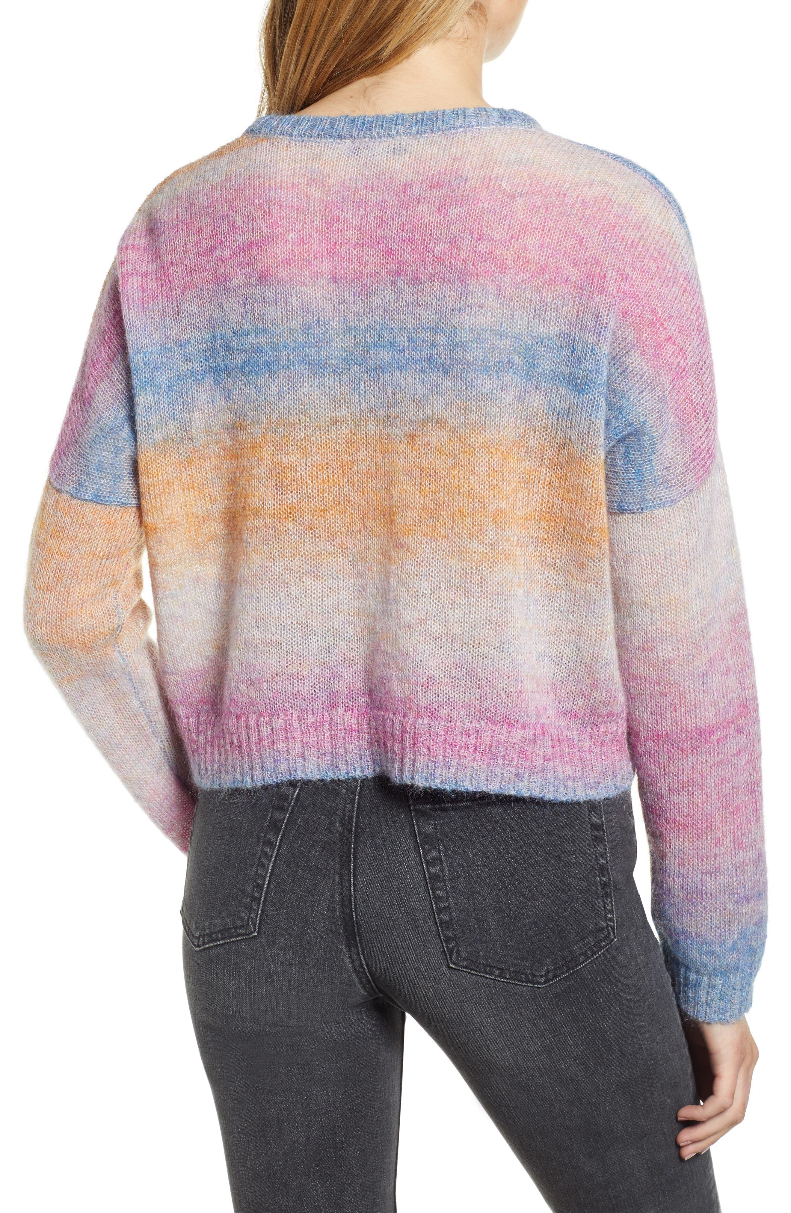 Camille Stripe Sweater,                             Alternate thumbnail 3, color,                             RAINBOW