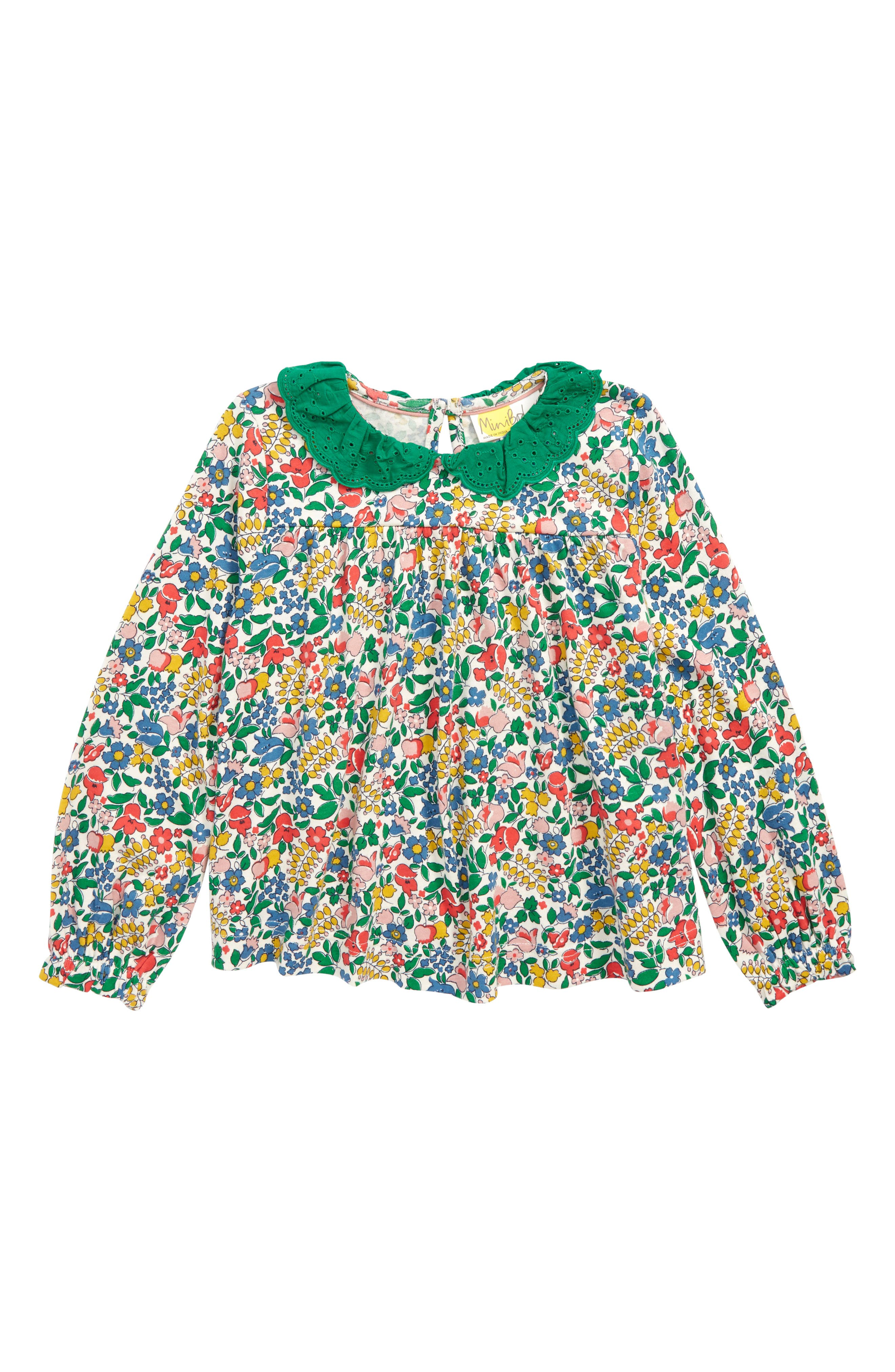 Broderie Collar Blouse,                             Main thumbnail 1, color,                             MULTI FLOWERBED