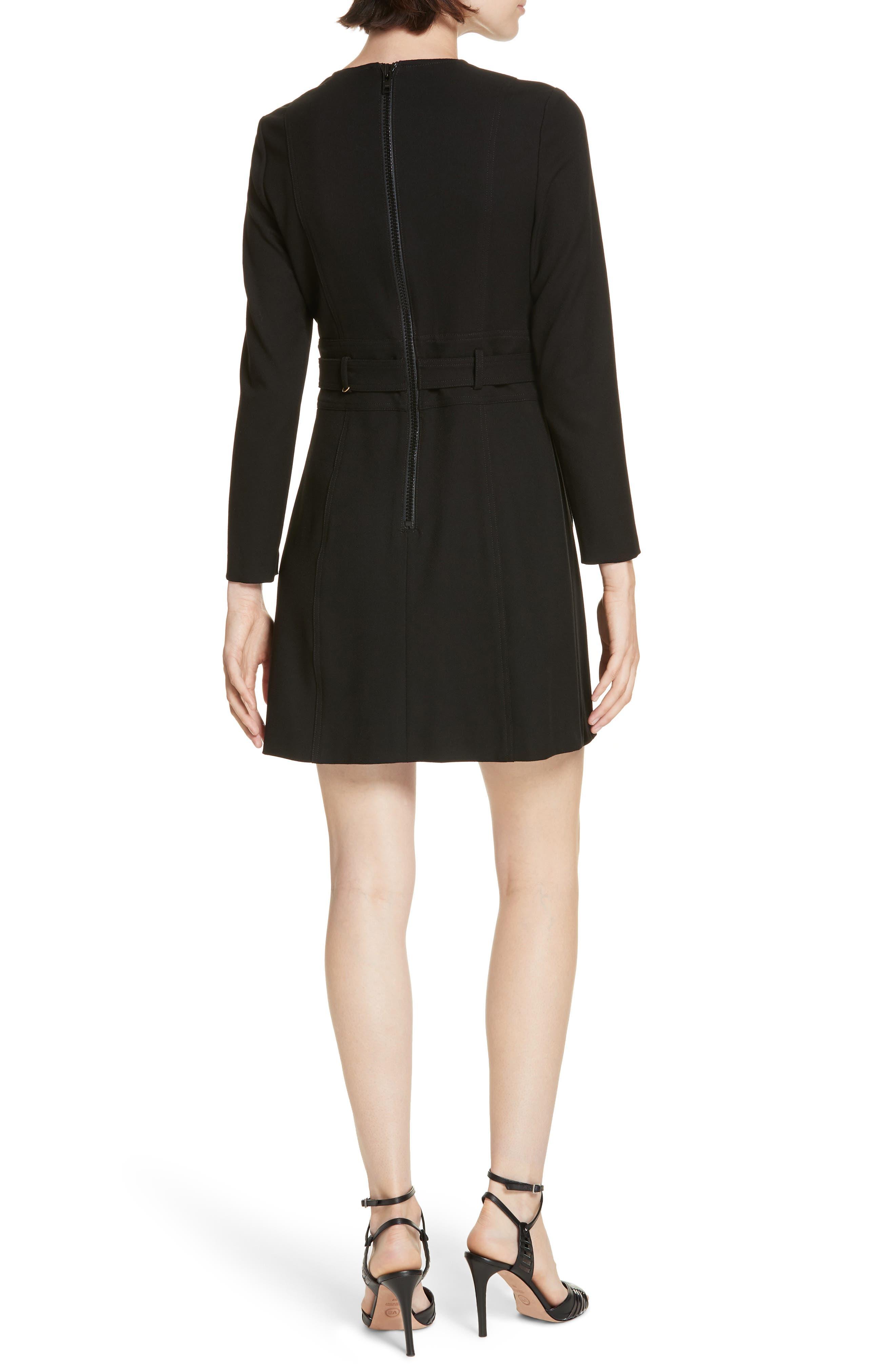 Nora Belted Minidress,                             Alternate thumbnail 2, color,                             BLACK