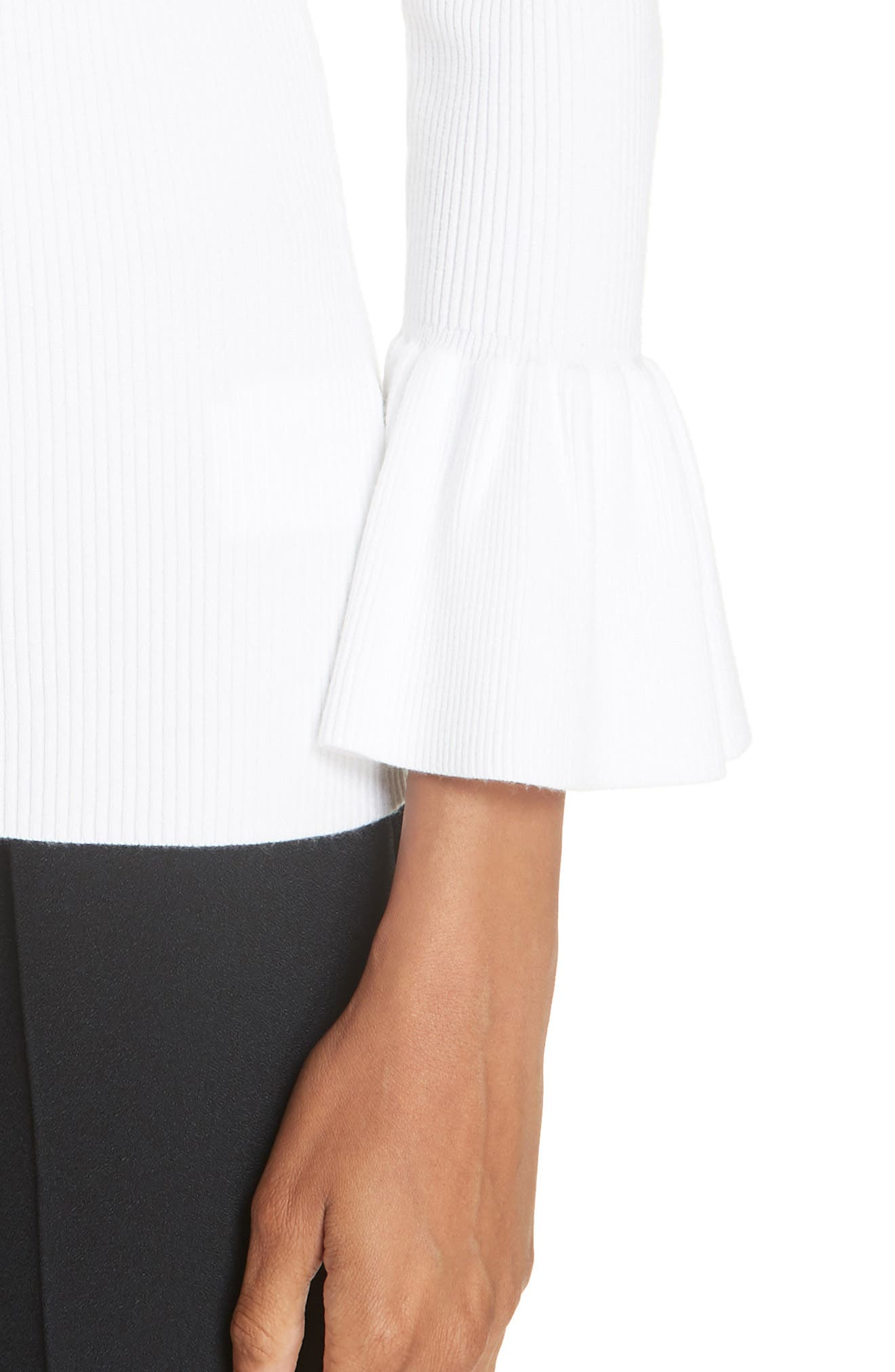 Ruffle Cuff Ribbed Sweater,                             Alternate thumbnail 4, color,                             WHITE