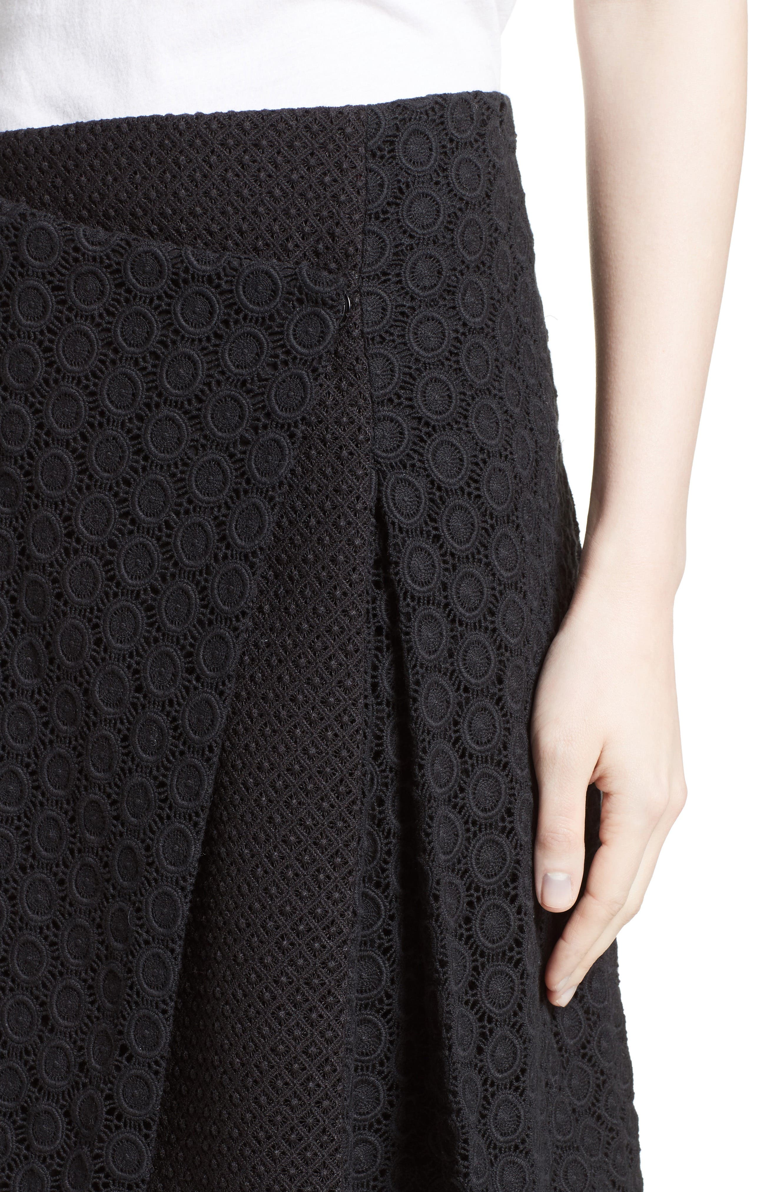 Howe Mixed Lace Pleated Wrap Skirt,                             Alternate thumbnail 4, color,                             001
