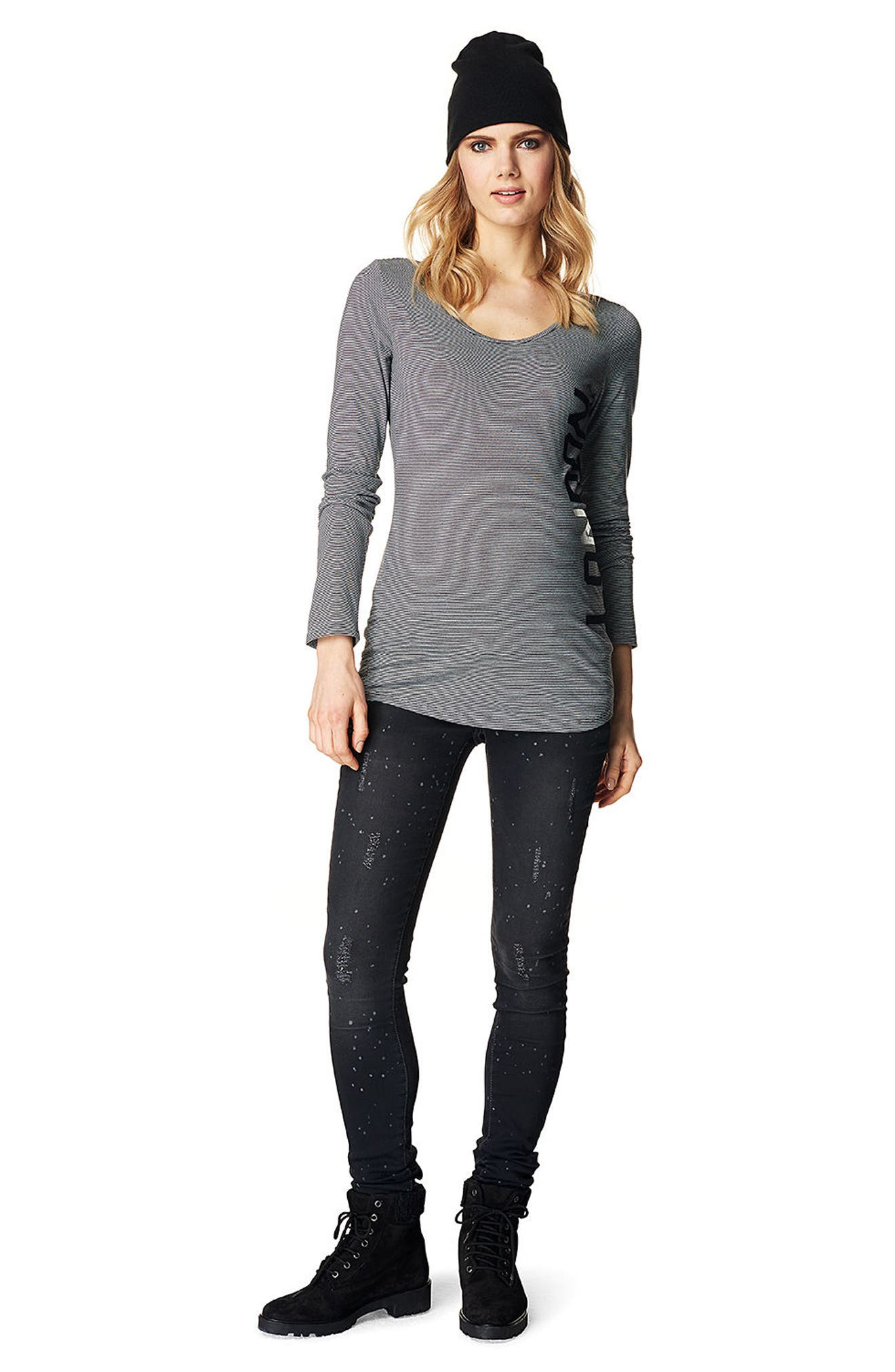 Over the Belly Skinny Maternity Jeans,                             Alternate thumbnail 3, color,                             GREY DENIM