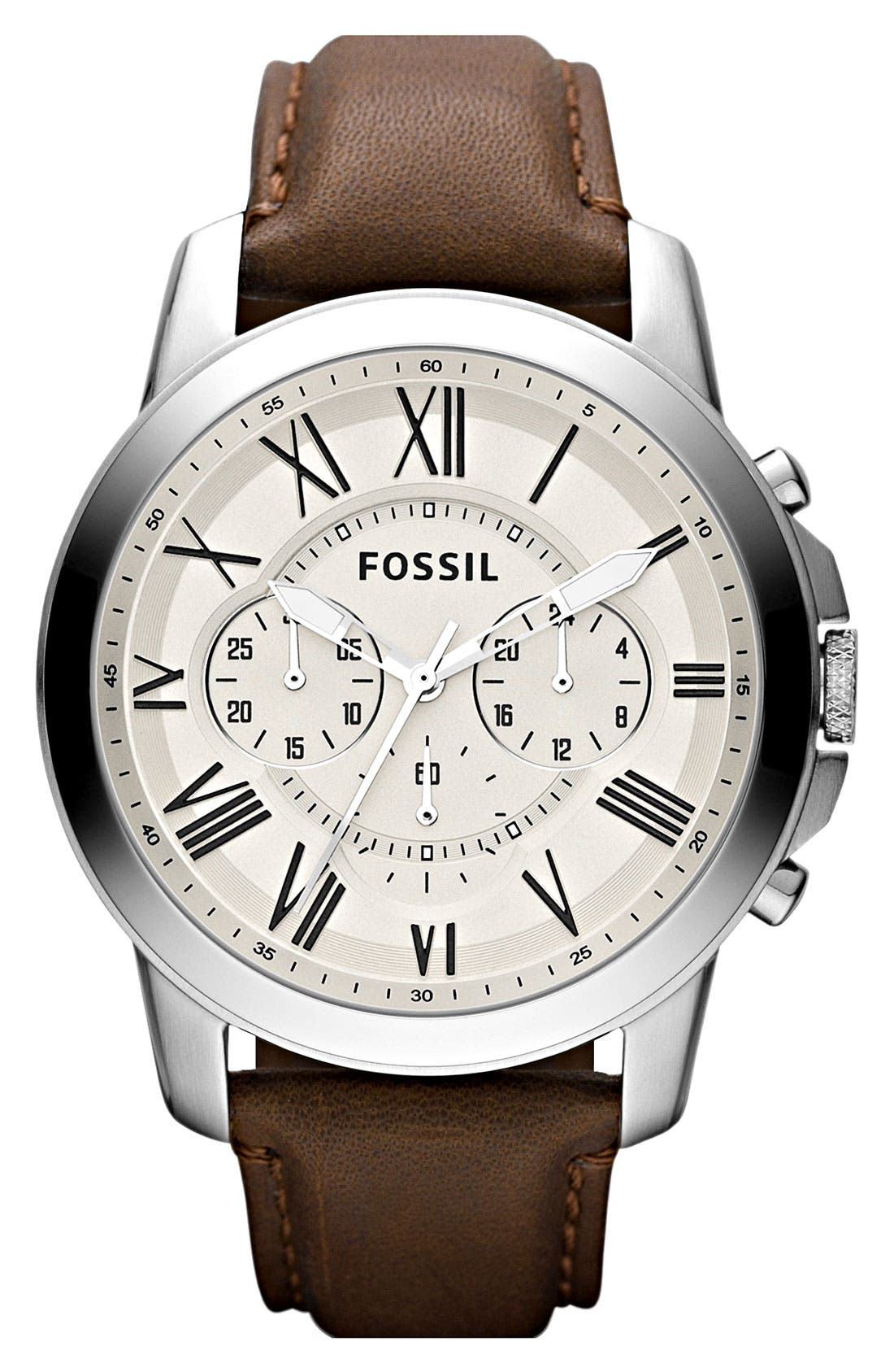 'Grant' Round Chronograph Leather Strap Watch, 44mm,                             Main thumbnail 10, color,